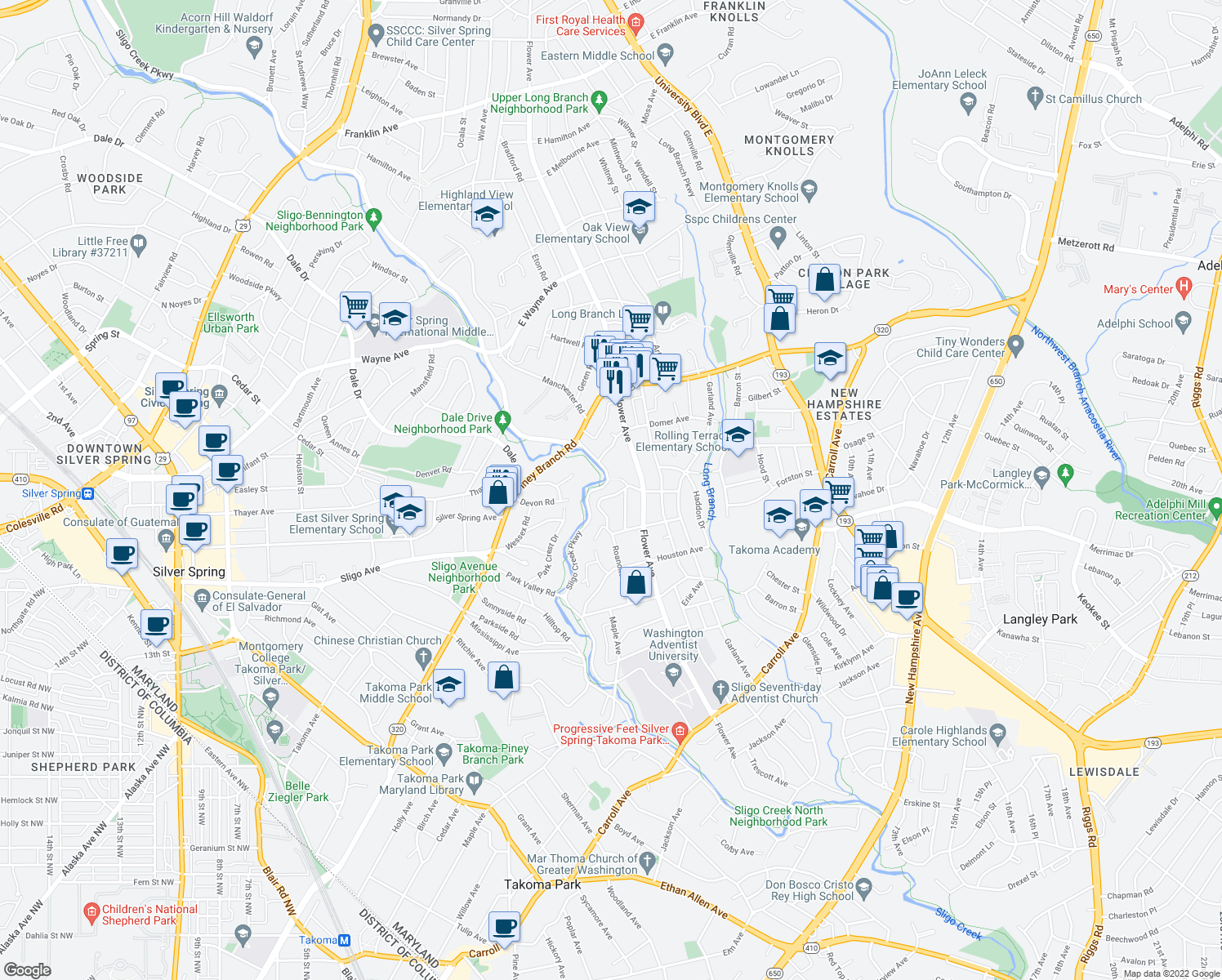 map of restaurants, bars, coffee shops, grocery stores, and more near 8320 Roanoke Ave in Takoma Park