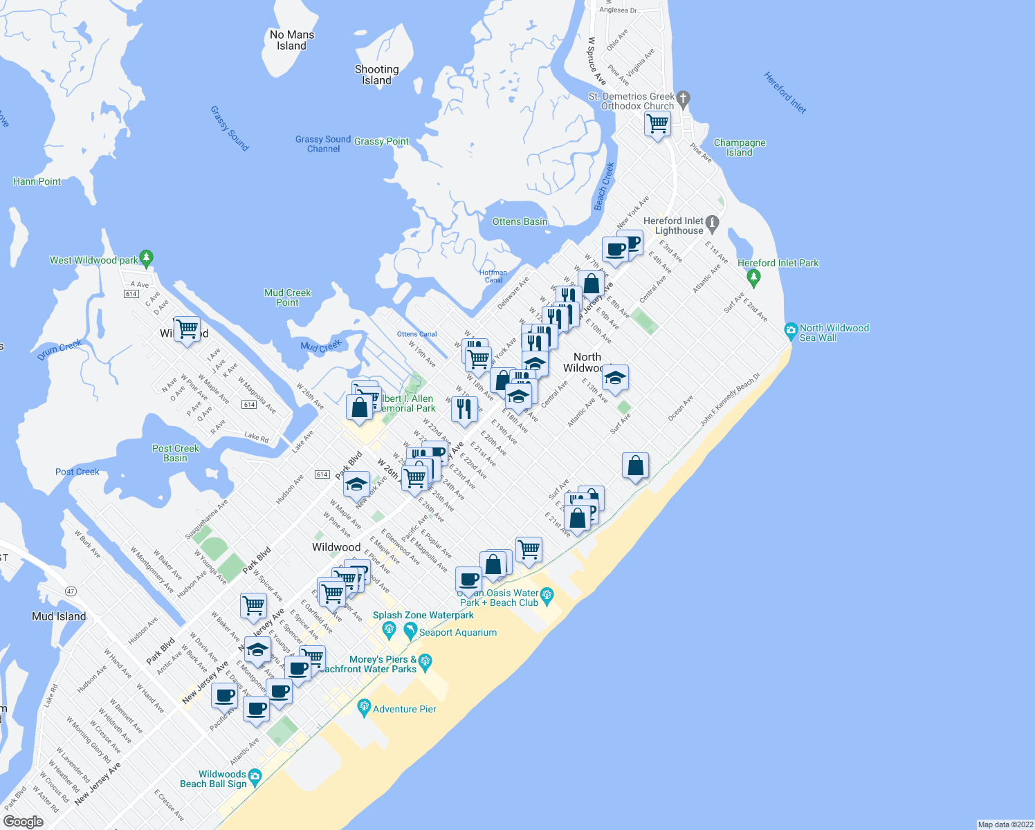 map of restaurants, bars, coffee shops, grocery stores, and more near 118 E 17th Ave in North Wildwood