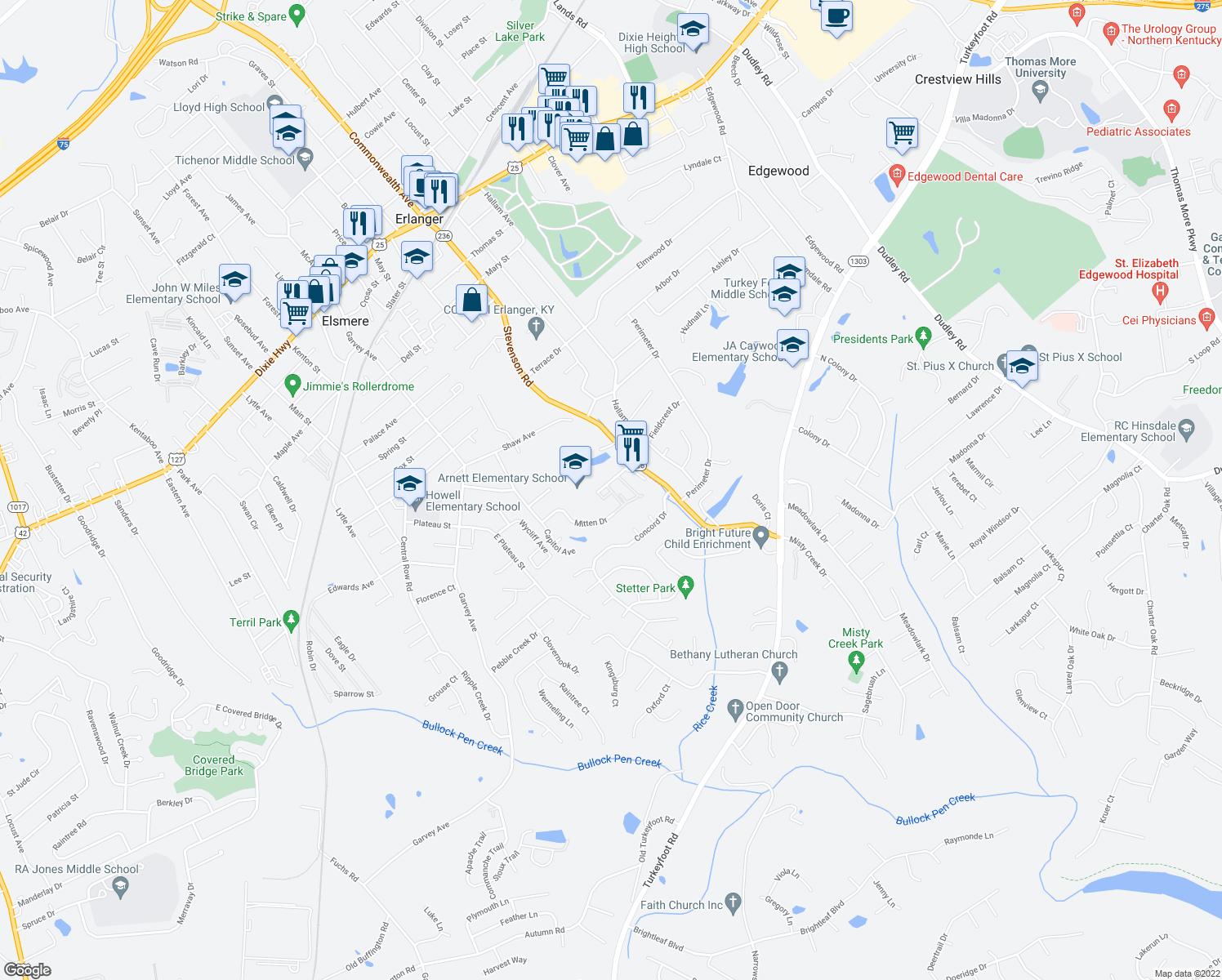 map of restaurants, bars, coffee shops, grocery stores, and more near 3522 Kimberly Drive in Erlanger