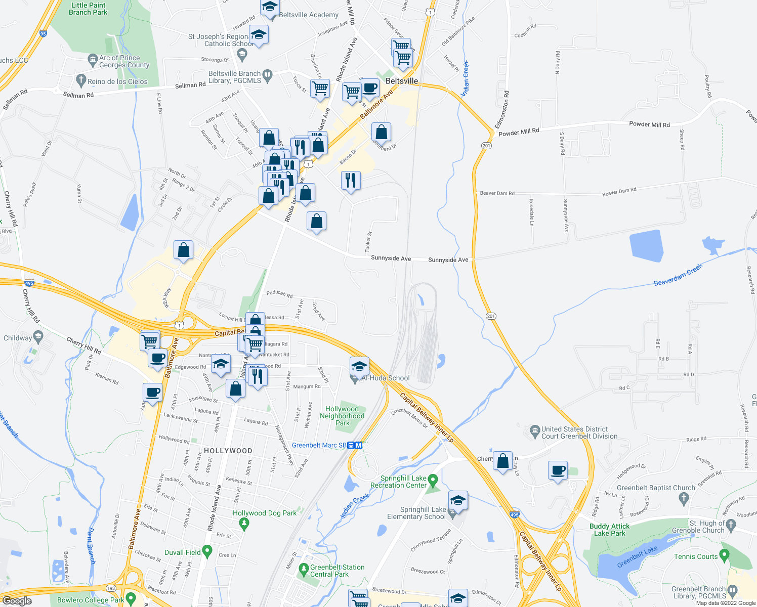 map of restaurants, bars, coffee shops, grocery stores, and more near 5601 Sunnyside Avenue in Beltsville