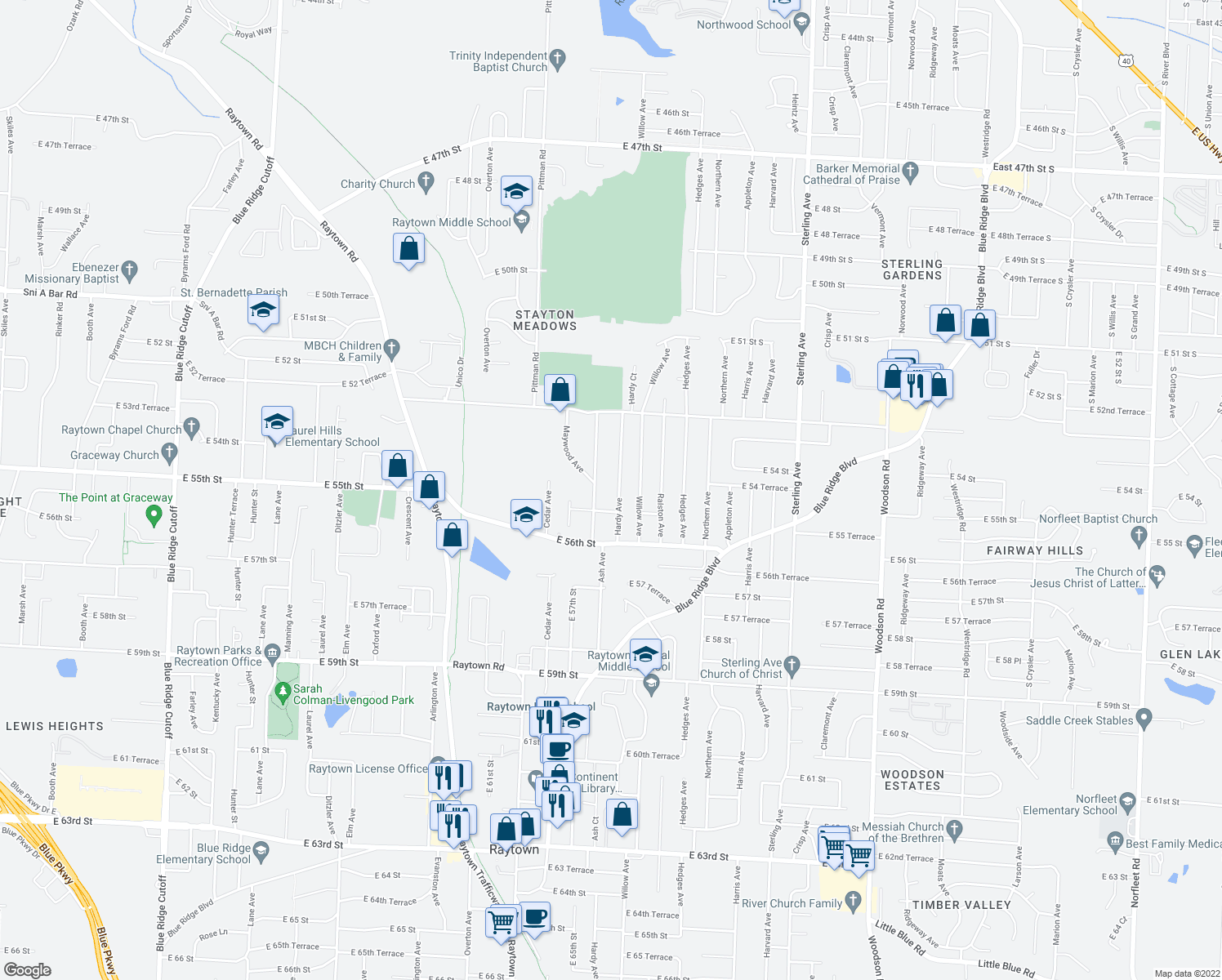map of restaurants, bars, coffee shops, grocery stores, and more near 5409 Hardy Avenue in Raytown