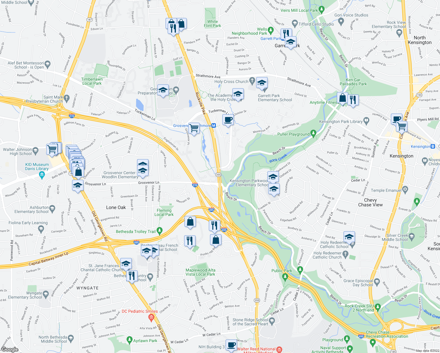 map of restaurants, bars, coffee shops, grocery stores, and more near Rockville Pike in Bethesda