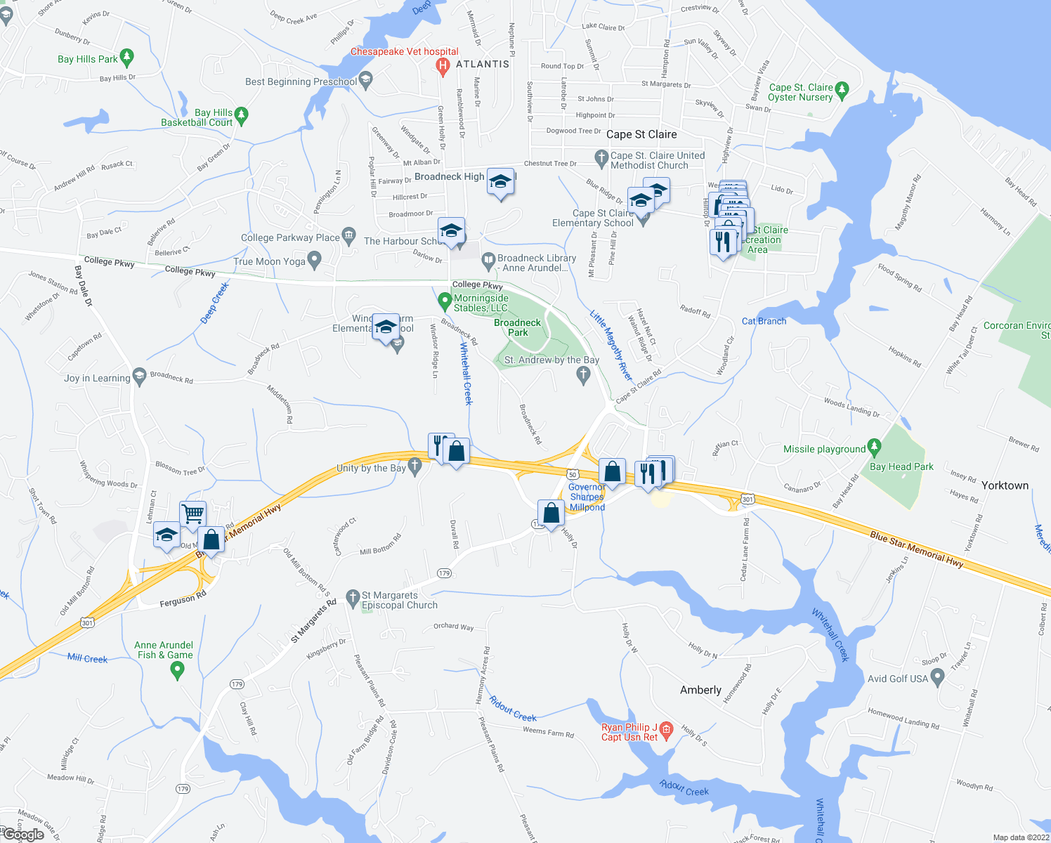 map of restaurants, bars, coffee shops, grocery stores, and more near 644 Broadneck Road in Annapolis