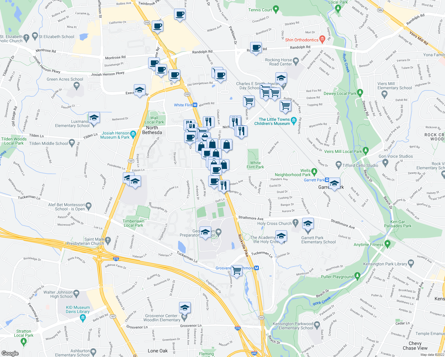 map of restaurants, bars, coffee shops, grocery stores, and more near 11119 Rockville Pike in Rockville