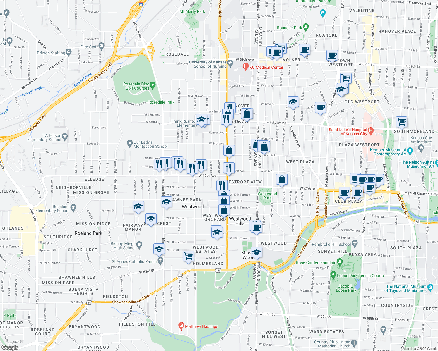 map of restaurants, bars, coffee shops, grocery stores, and more near W 47th Ave & Adams St in Kansas City