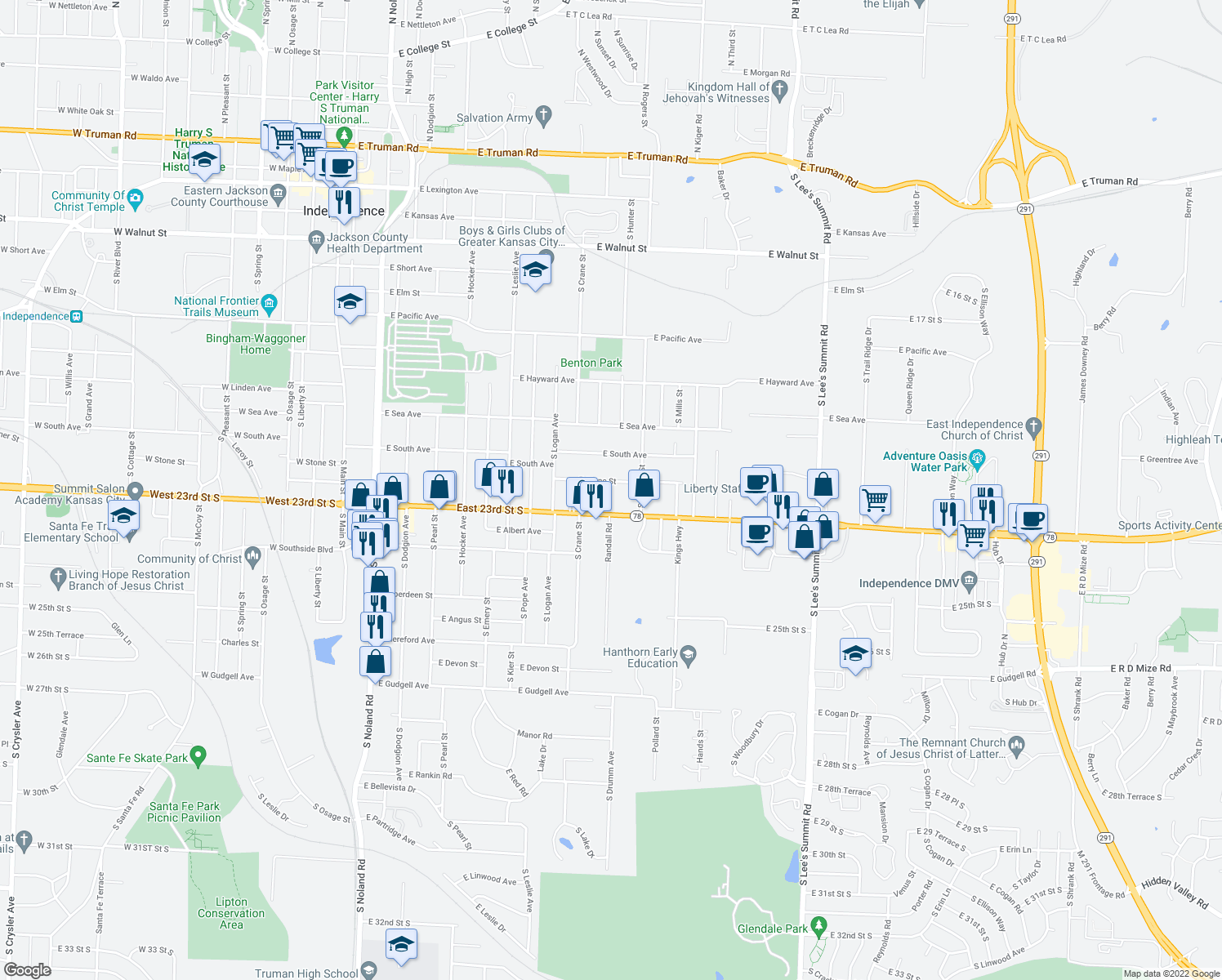 map of restaurants, bars, coffee shops, grocery stores, and more near 1013 E Stone St in Independence