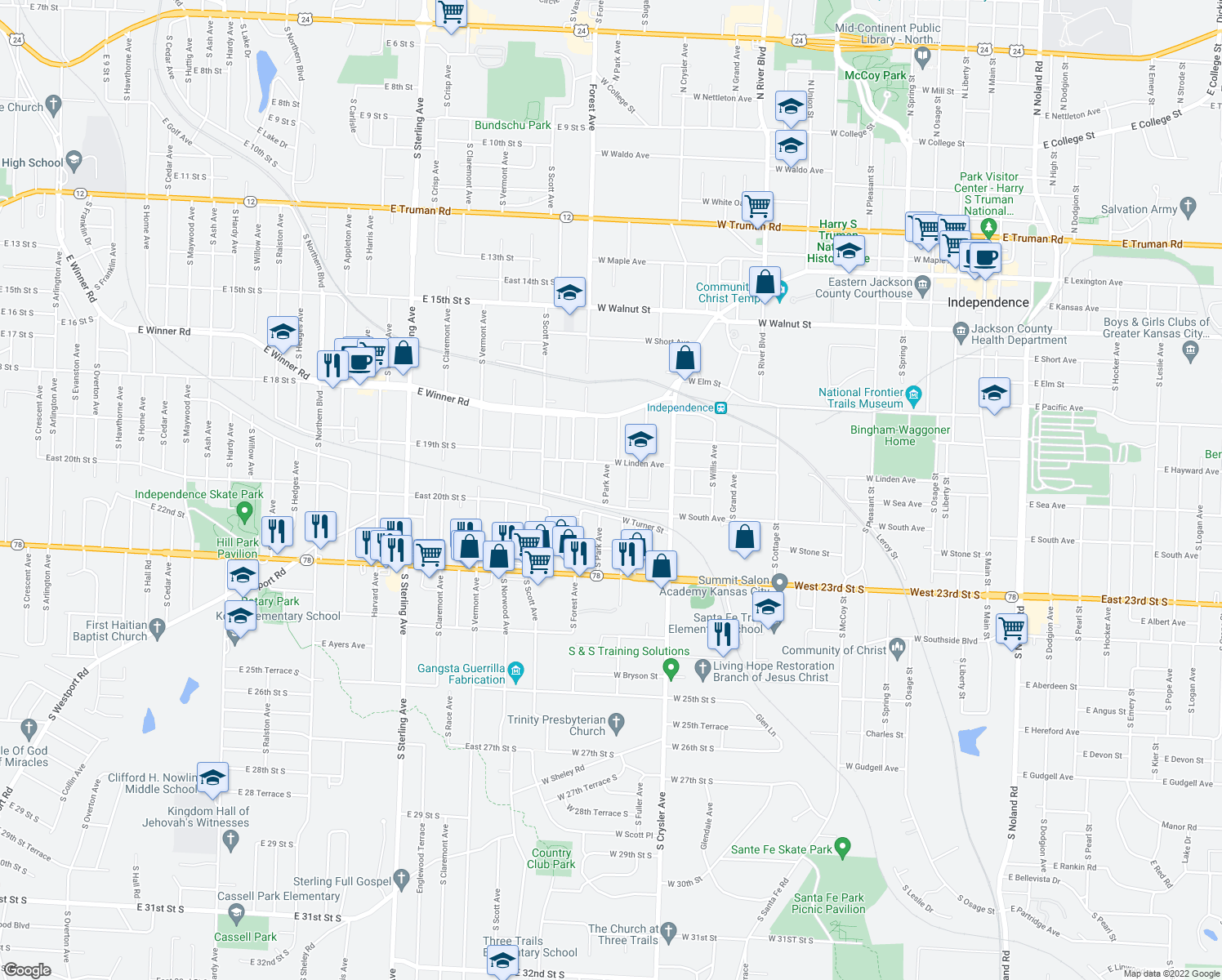map of restaurants, bars, coffee shops, grocery stores, and more near 827 South Park Avenue in Independence