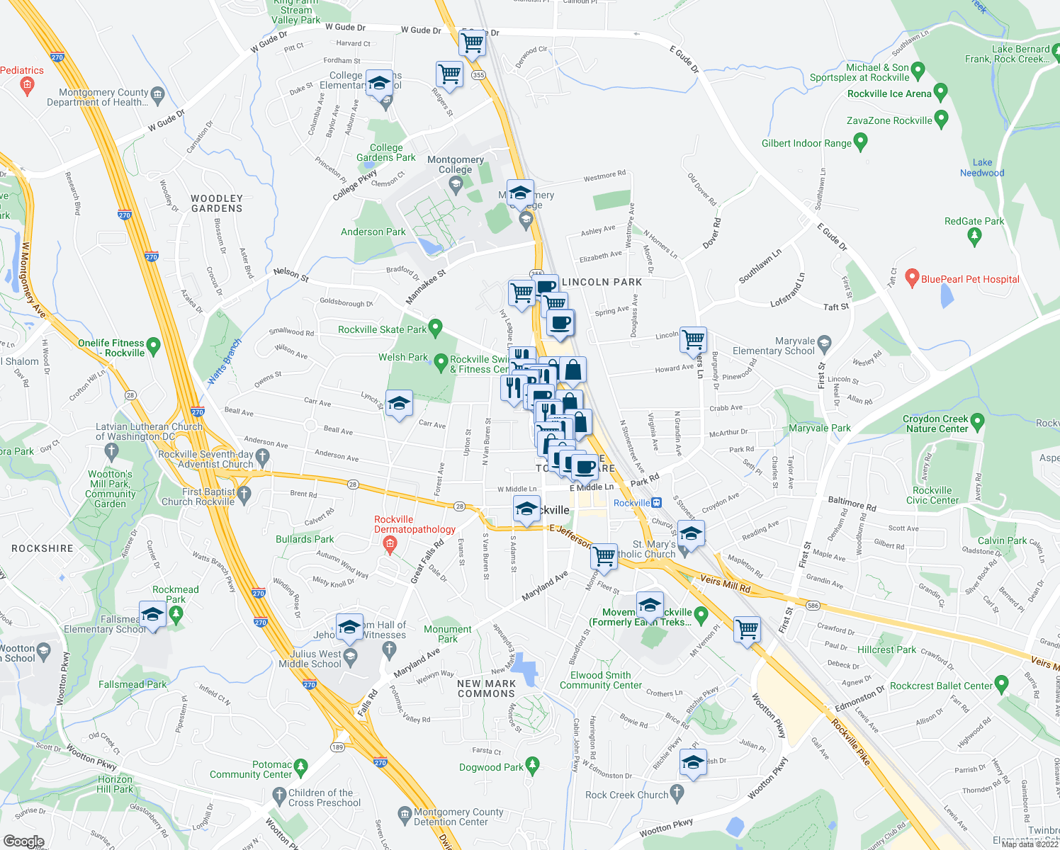 map of restaurants, bars, coffee shops, grocery stores, and more near 67-199 Dawson Avenue in Rockville