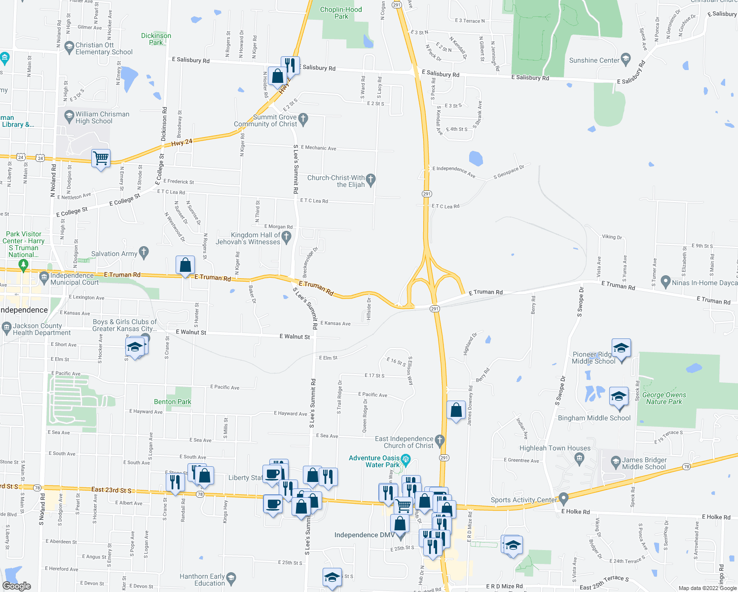map of restaurants, bars, coffee shops, grocery stores, and more near 16303 East Truman Road in Independence