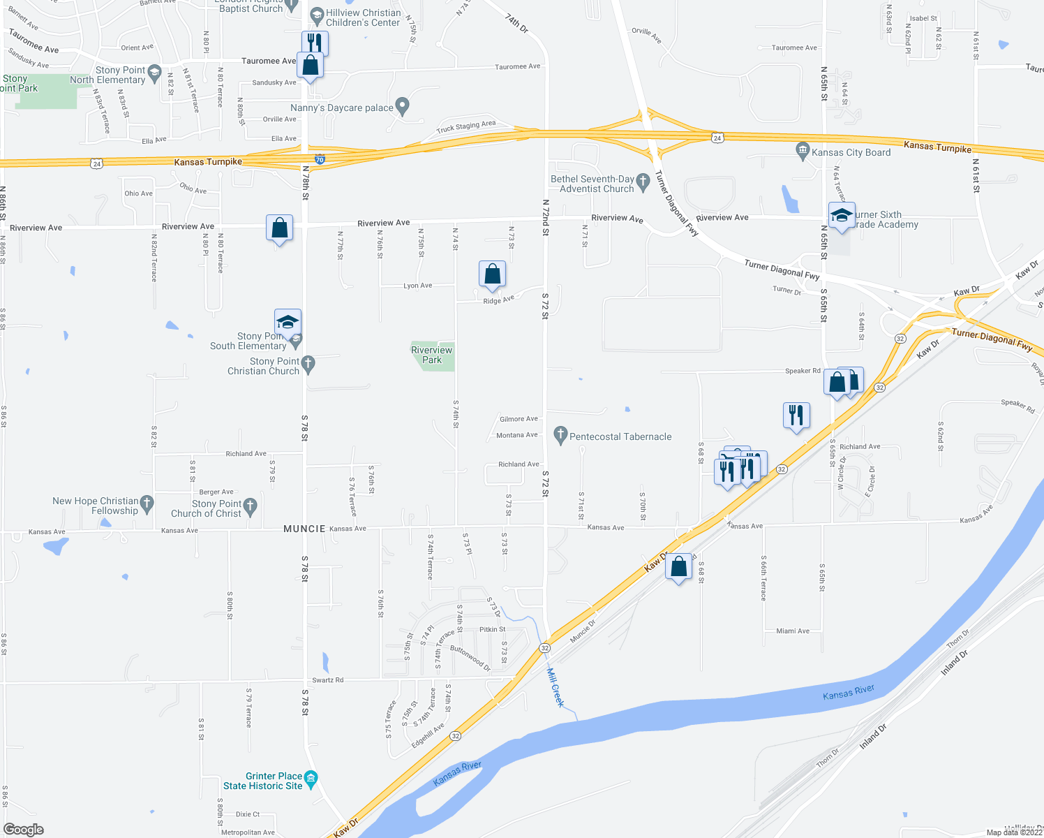map of restaurants, bars, coffee shops, grocery stores, and more near 7227 Gilmore Avenue in Kansas City