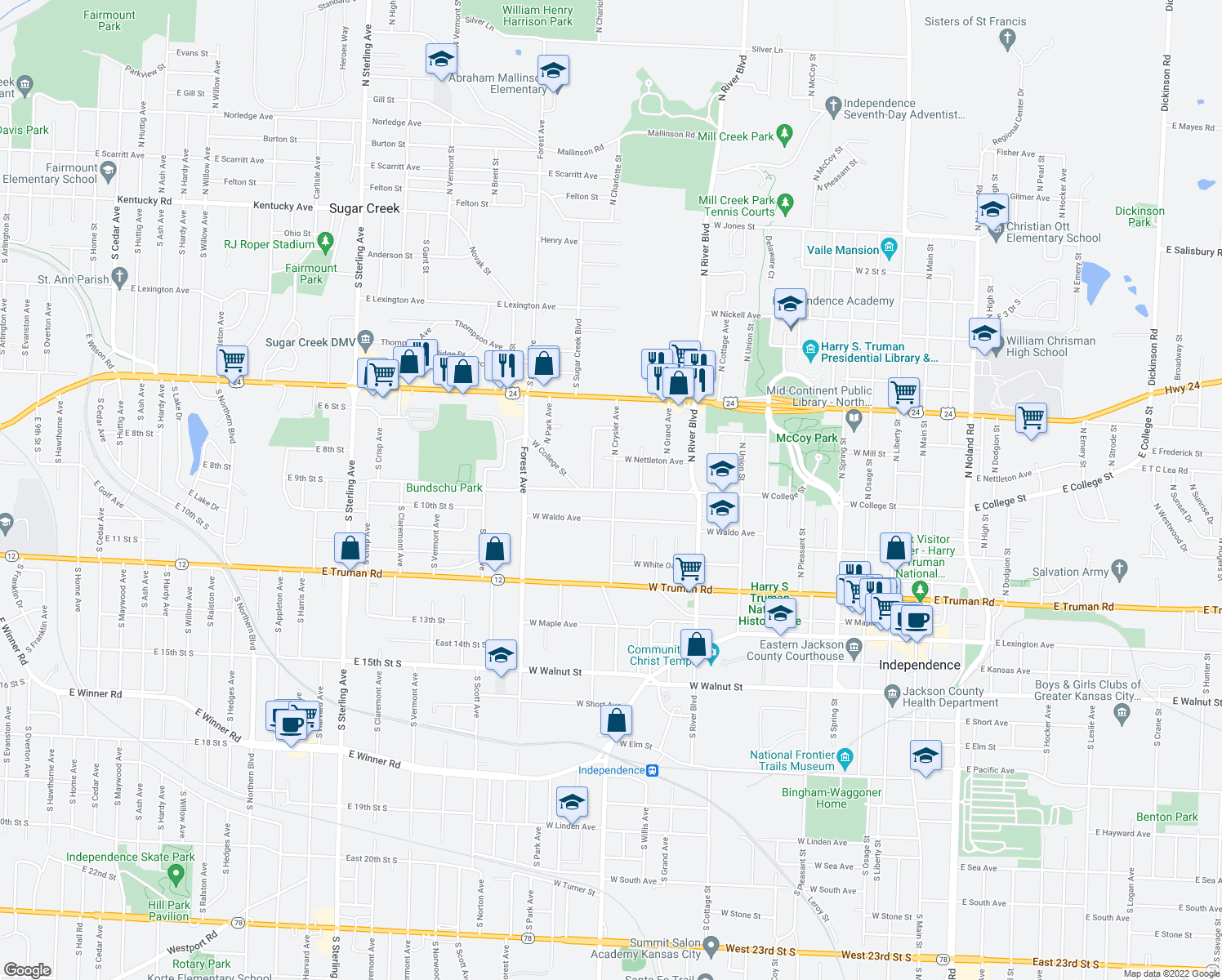 map of restaurants, bars, coffee shops, grocery stores, and more near 1216 W Waldo Ave in Independence