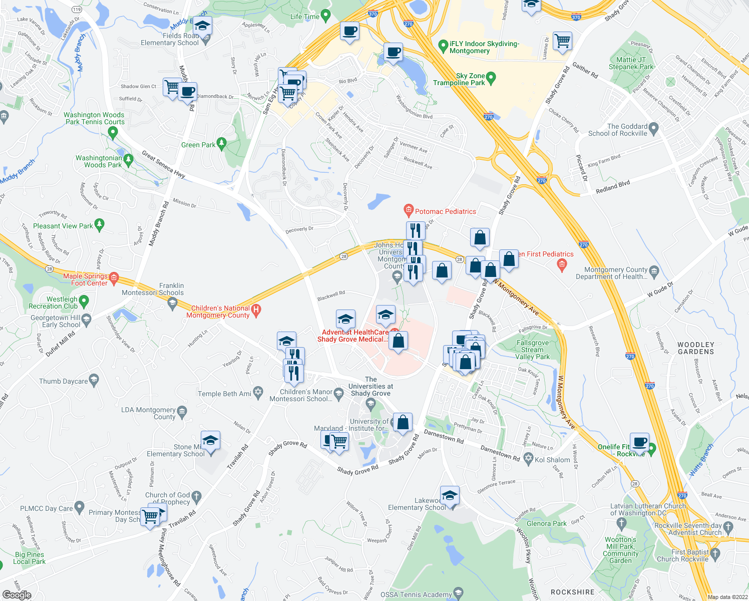 map of restaurants, bars, coffee shops, grocery stores, and more near 9901-9929 Blackwell Road in Rockville