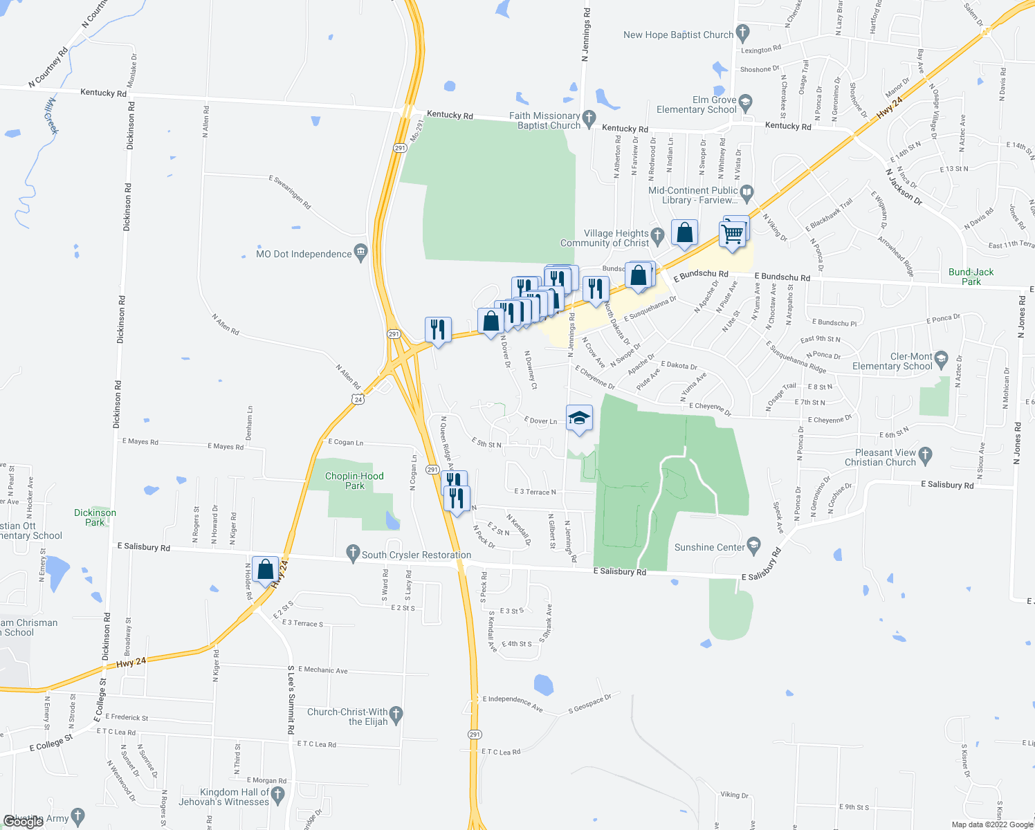 map of restaurants, bars, coffee shops, grocery stores, and more near 501-531 North Dover Drive in Independence