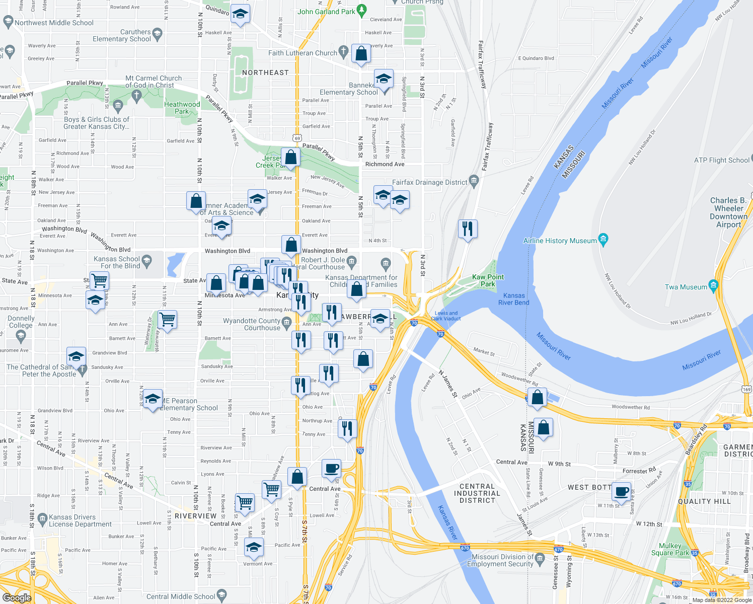 map of restaurants, bars, coffee shops, grocery stores, and more near 901 N 5th St in Kansas City