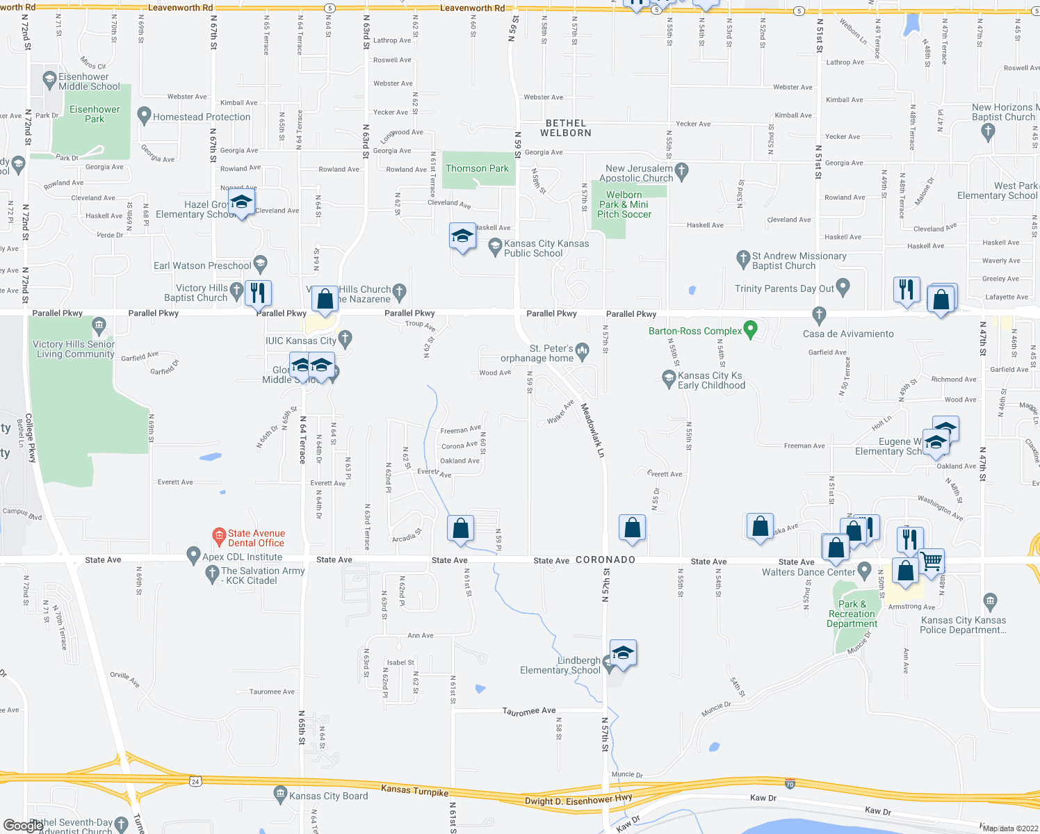 map of restaurants, bars, coffee shops, grocery stores, and more near 5928 Freeman Avenue in Kansas City