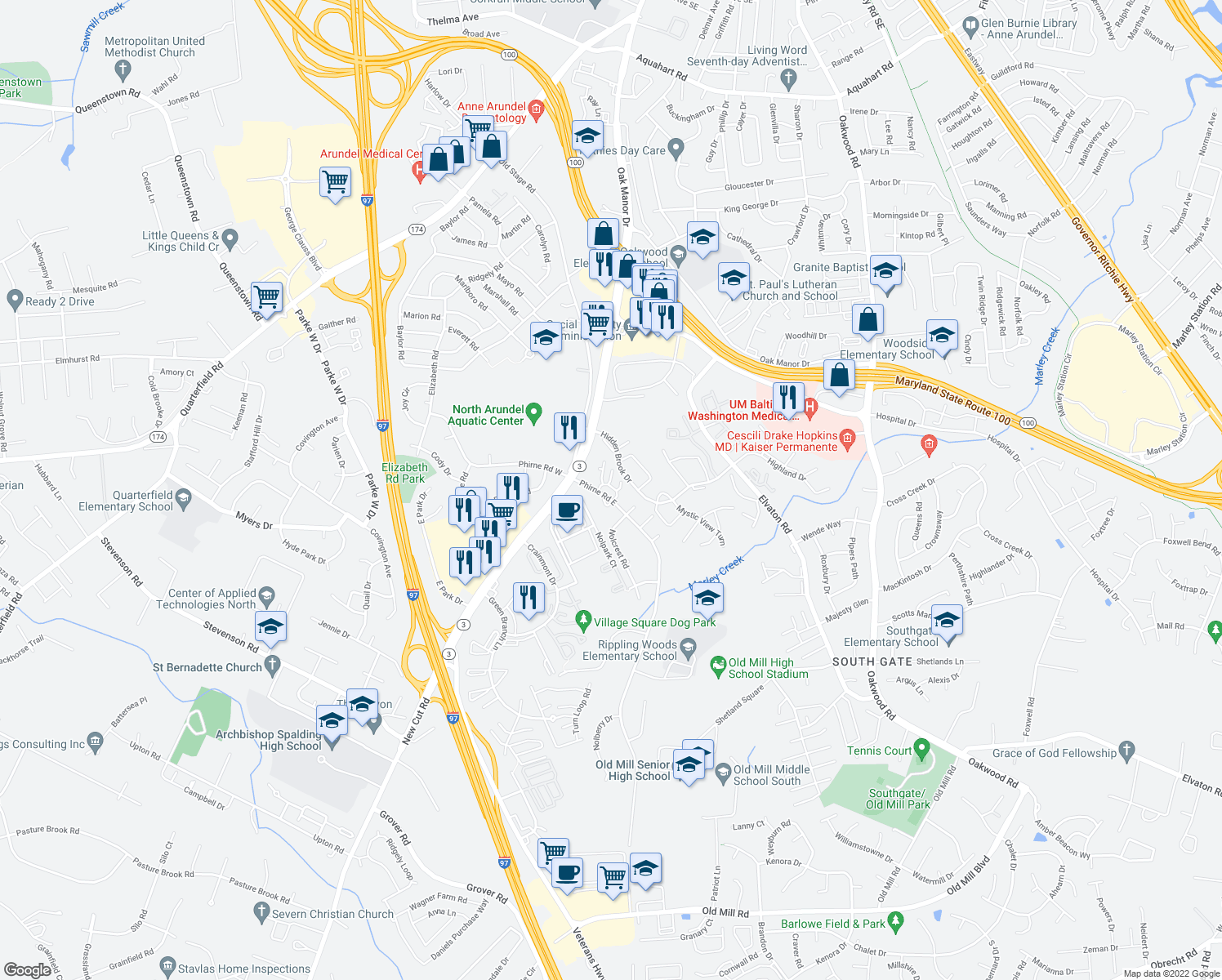 map of restaurants, bars, coffee shops, grocery stores, and more near 435 Glen Mar Road in Glen Burnie