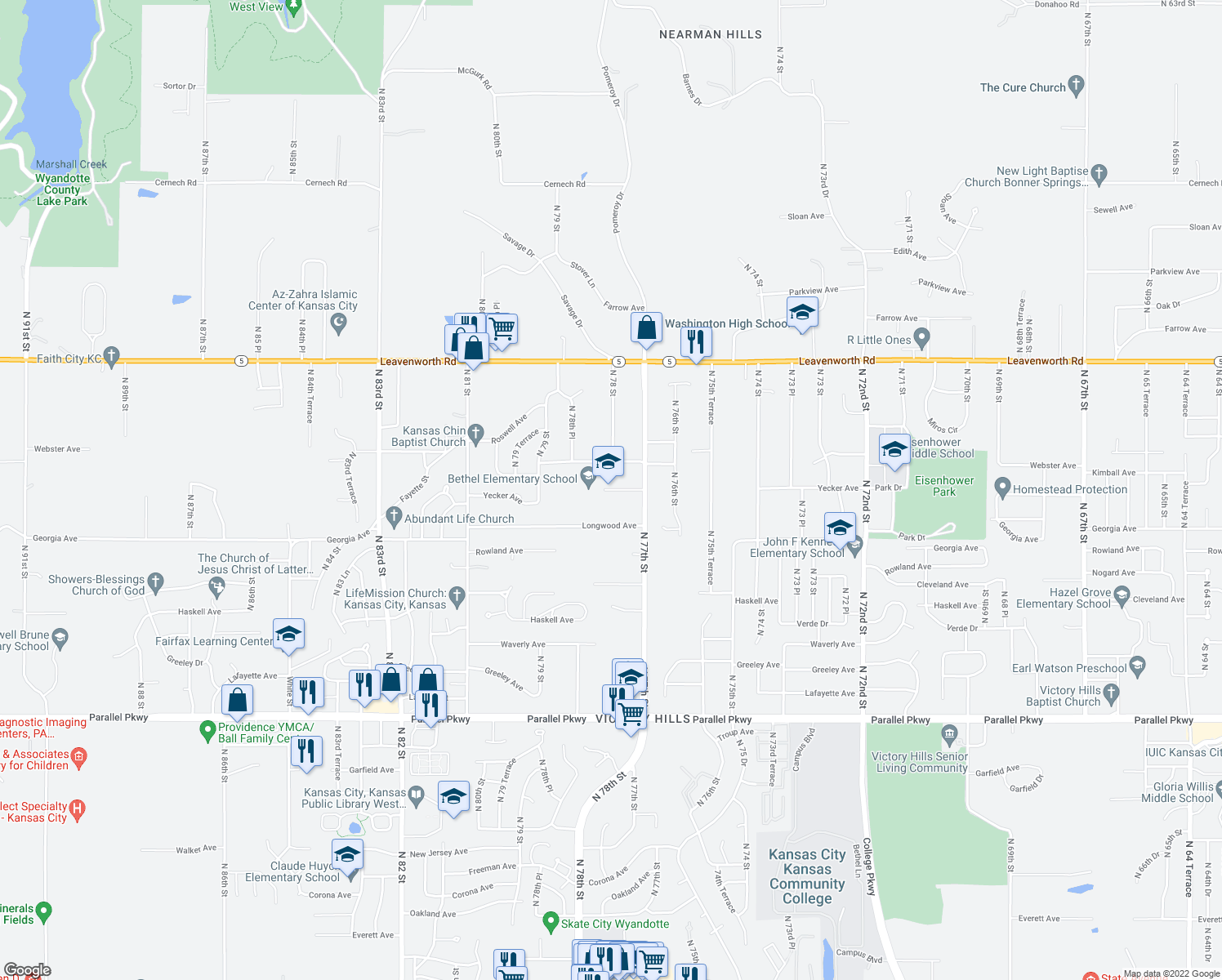 map of restaurants, bars, coffee shops, grocery stores, and more near 7850 Yecker Avenue in Kansas City