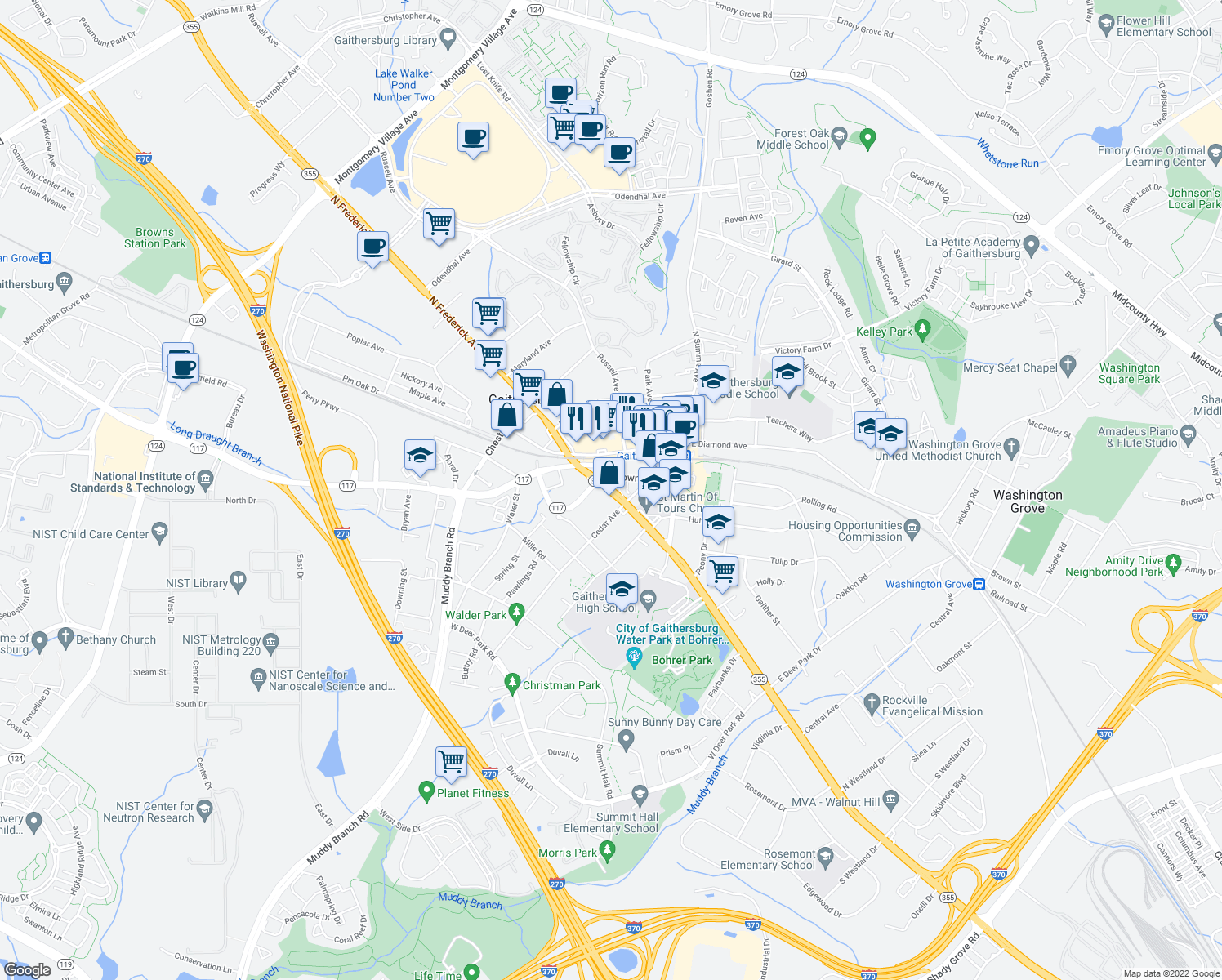 map of restaurants, bars, coffee shops, grocery stores, and more near Olde Towne Avenue in Gaithersburg