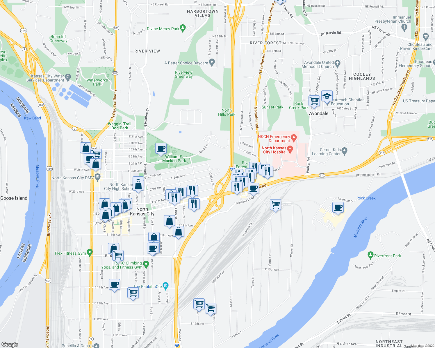 map of restaurants, bars, coffee shops, grocery stores, and more near 1619 Orleans Circle in North Kansas City