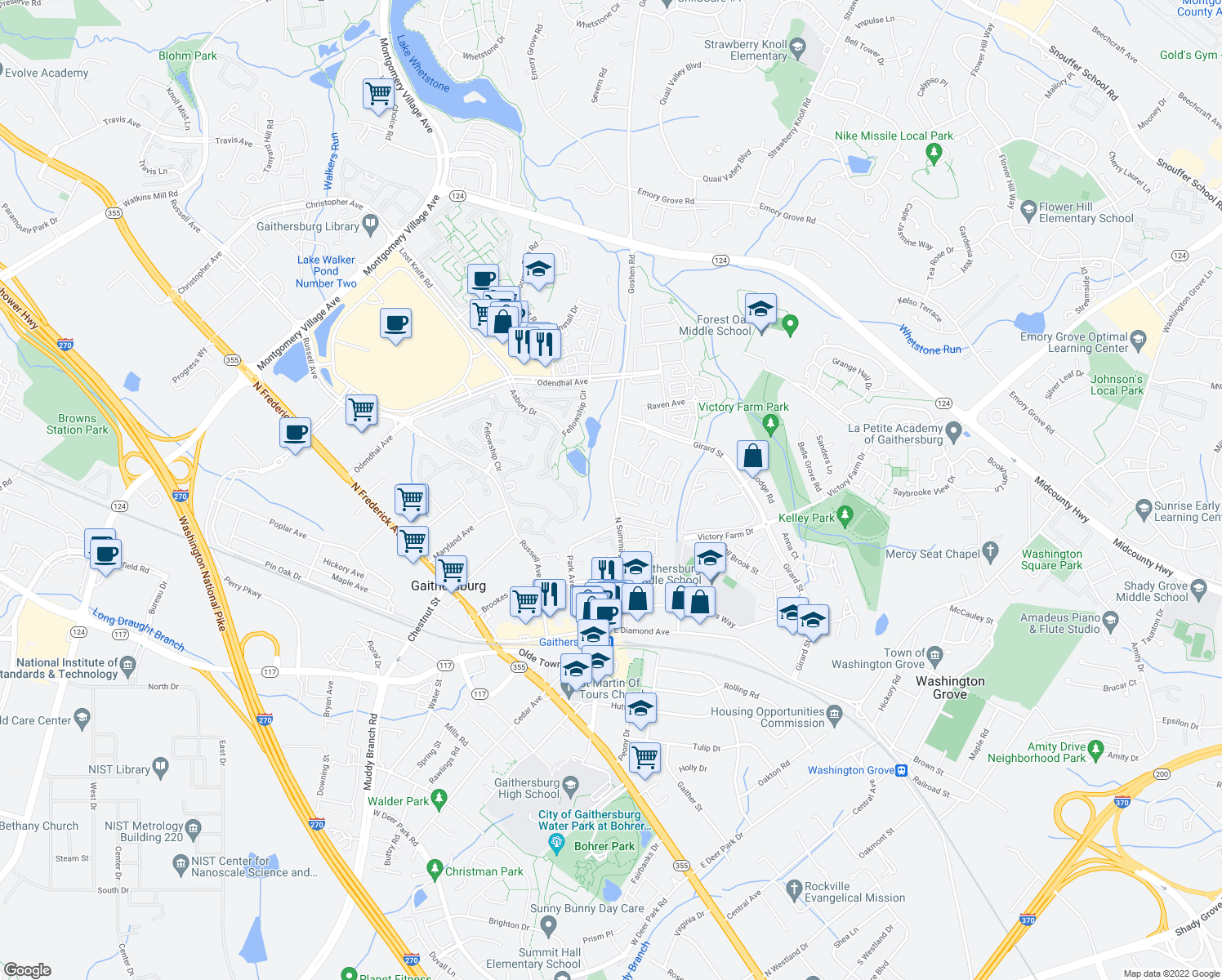 map of restaurants, bars, coffee shops, grocery stores, and more near 340 N Summit Ave in Gaithersburg