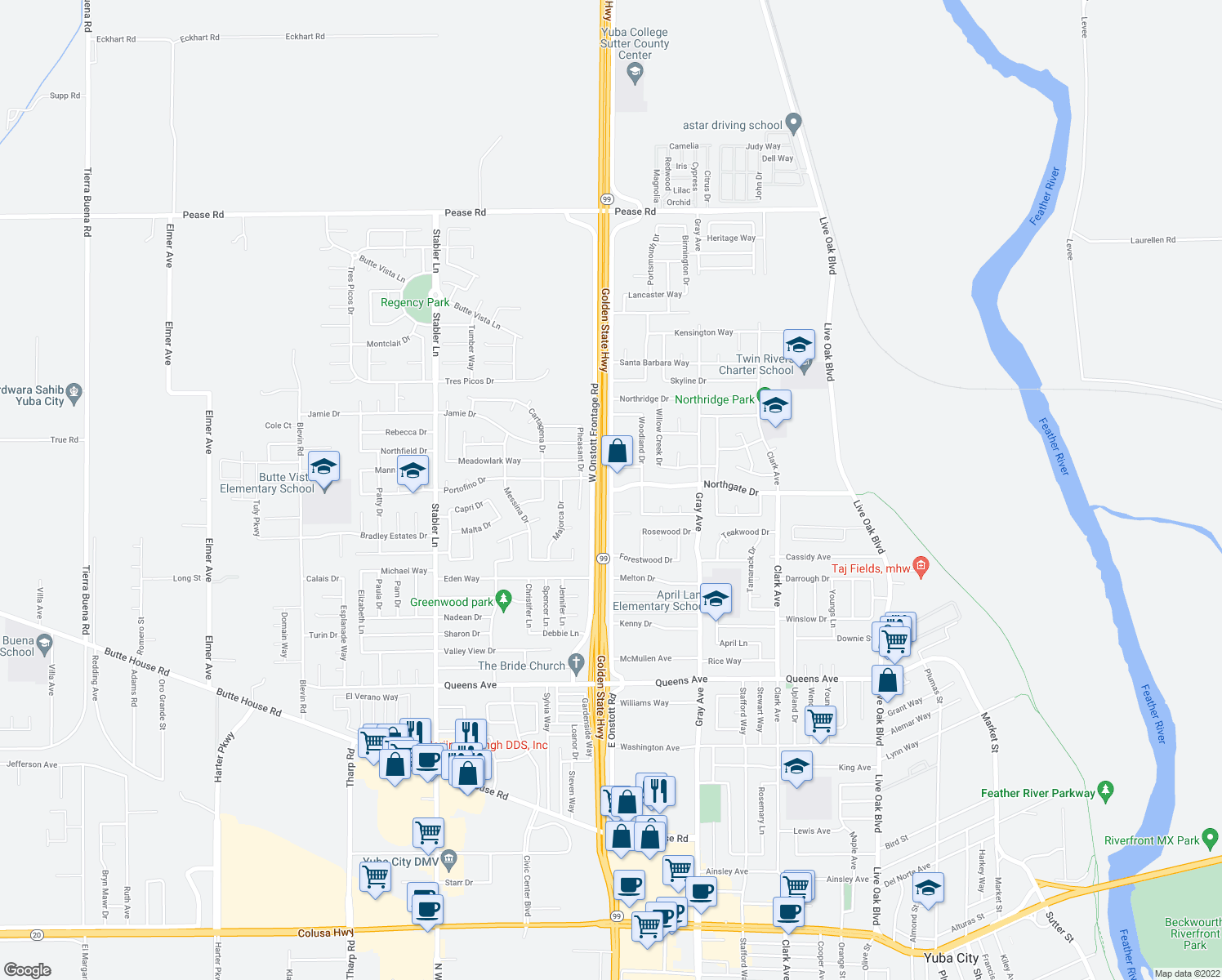 map of restaurants, bars, coffee shops, grocery stores, and more near E Onstott Rd & Northgate Dr in Yuba City