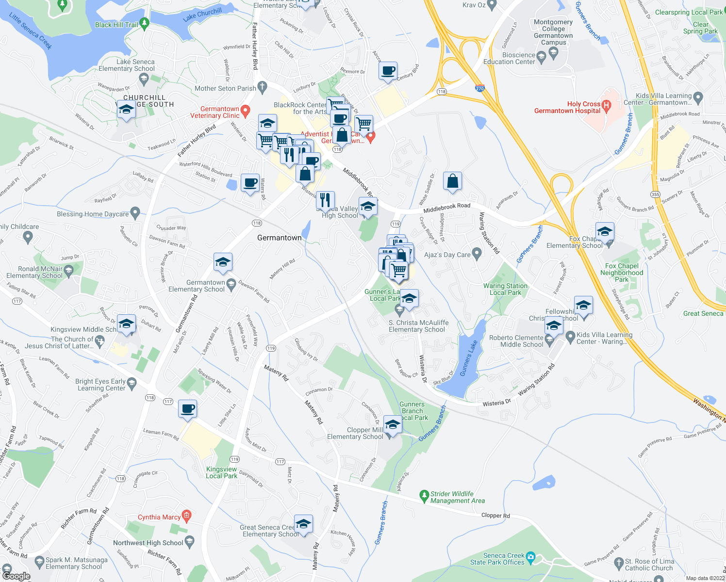 map of restaurants, bars, coffee shops, grocery stores, and more near Great Seneca Hwy & Grey Eagle Ct in Germantown