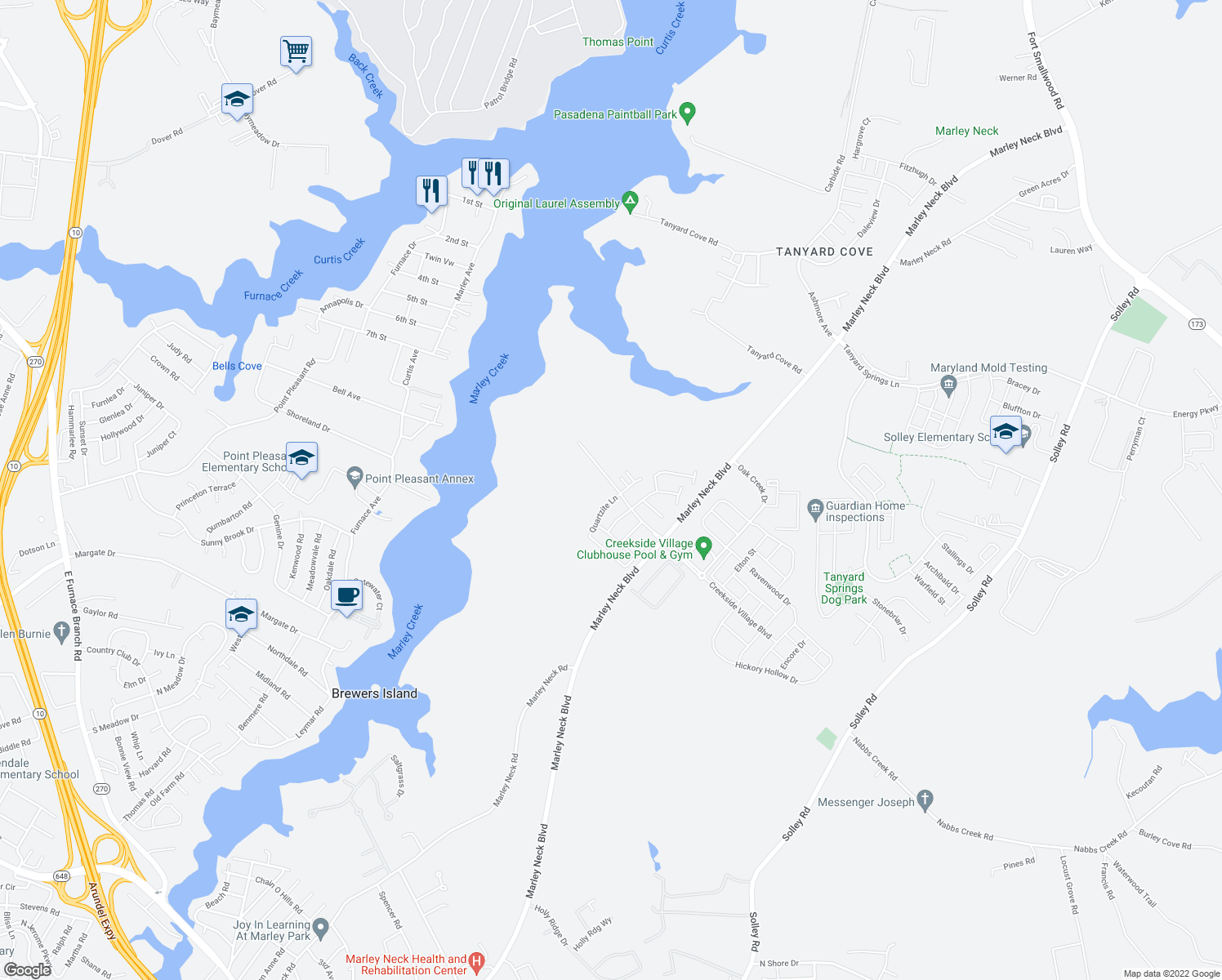 map of restaurants, bars, coffee shops, grocery stores, and more near Freeman Shores Road in Glen Burnie