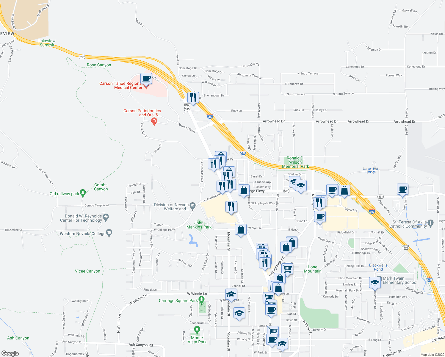 map of restaurants, bars, coffee shops, grocery stores, and more near 3733 N Carson St in Carson City