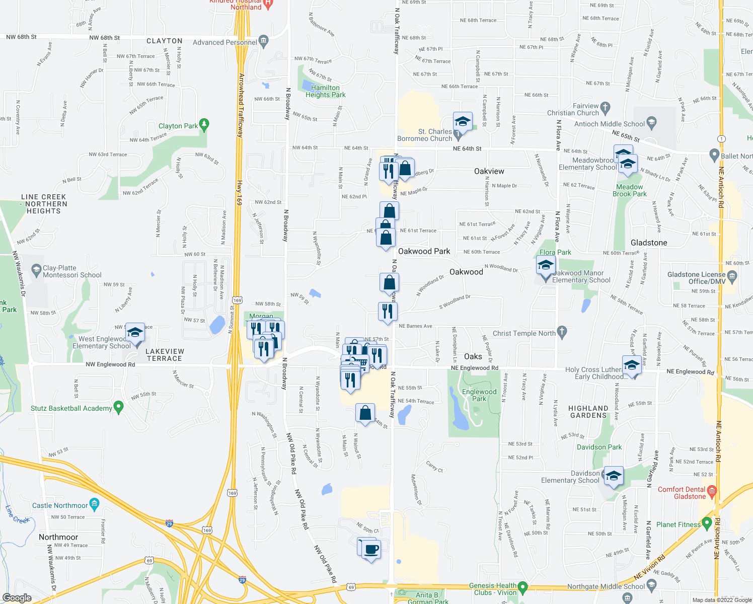 map of restaurants, bars, coffee shops, grocery stores, and more near 300 NE 58th St in Gladstone