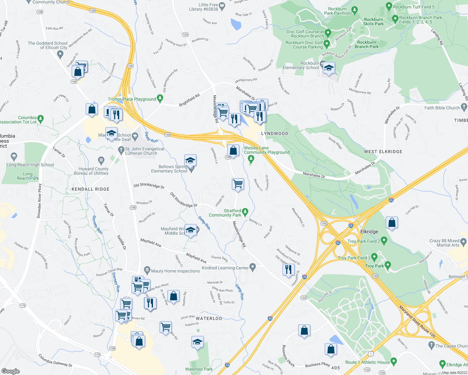 map of restaurants, bars, coffee shops, grocery stores, and more near 5951-6235 Highway 103 in Elkridge