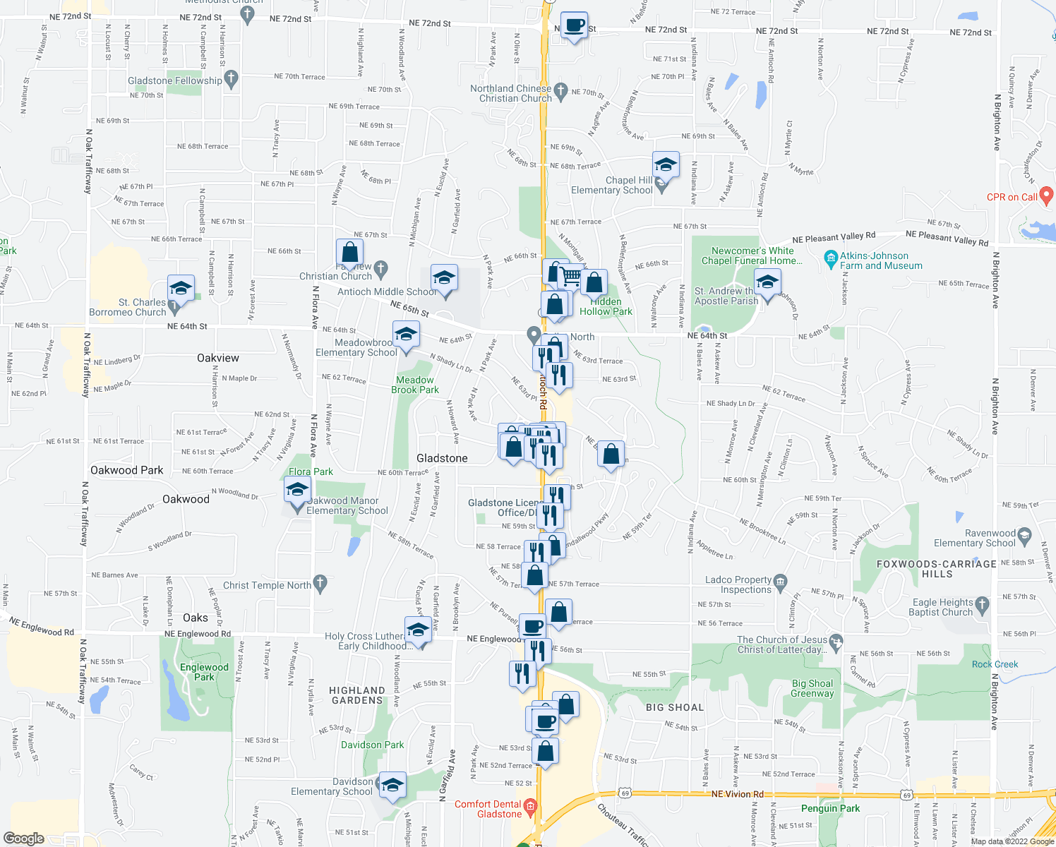 map of restaurants, bars, coffee shops, grocery stores, and more near 2529-2599 NE 61st Terrace in Gladstone