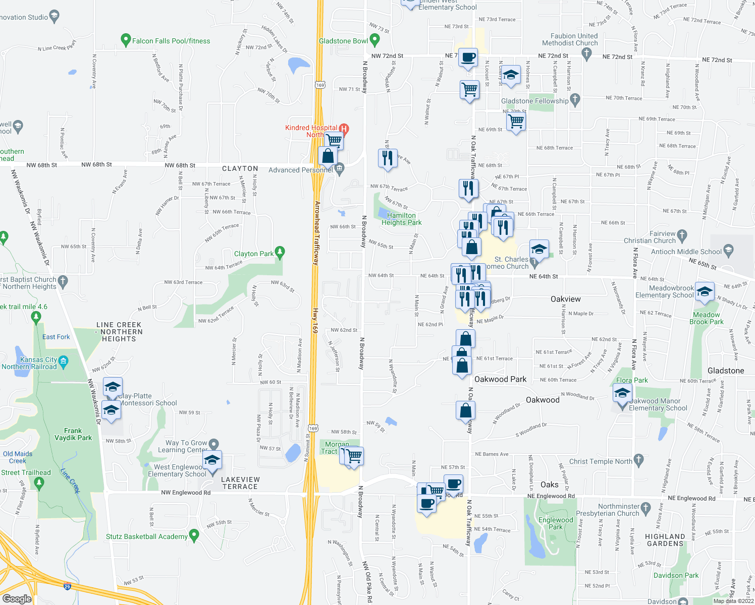 map of restaurants, bars, coffee shops, grocery stores, and more near 202 Northwest 63rd Street in Kansas City
