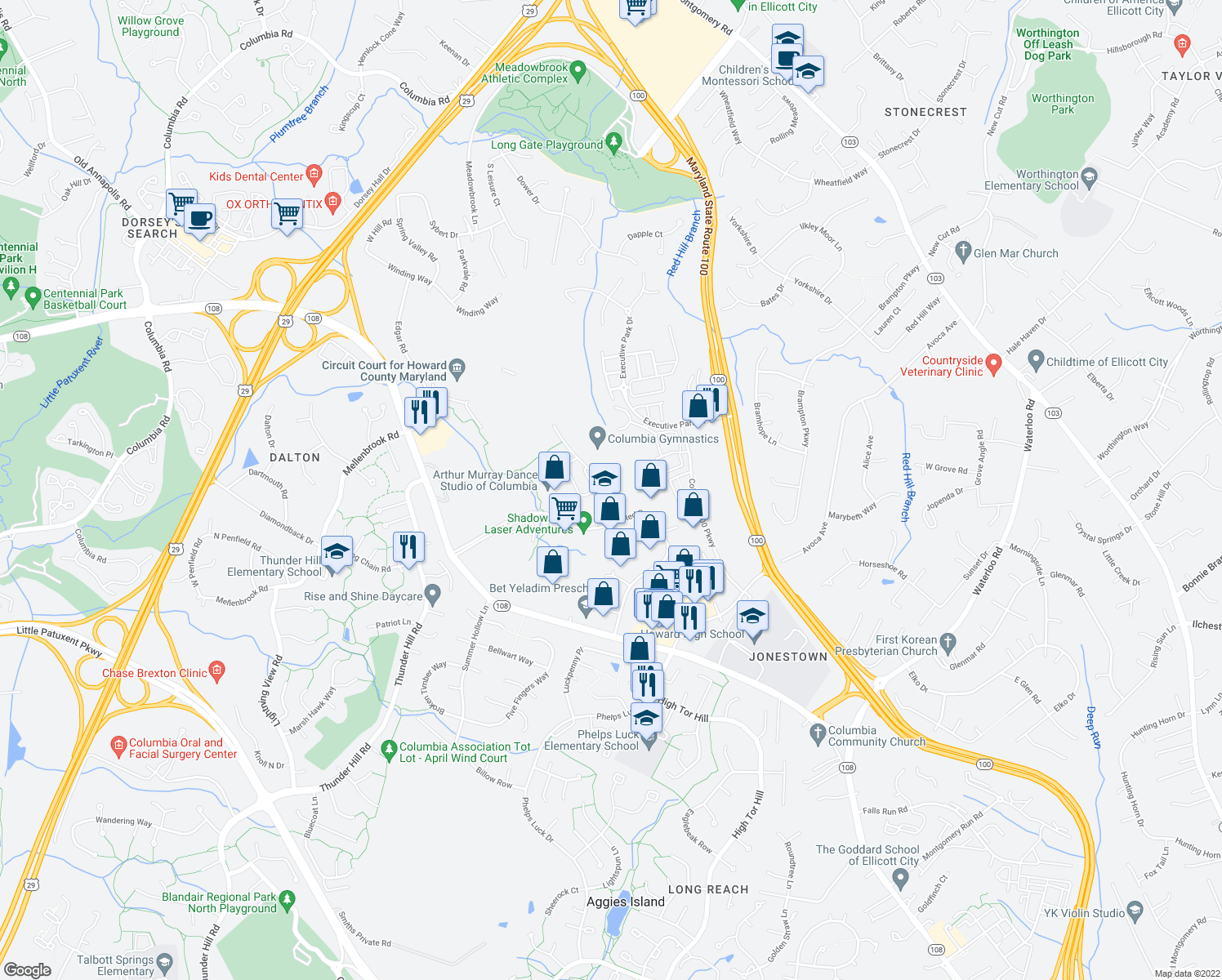 map of restaurants, bars, coffee shops, grocery stores, and more near 9237-9279 Rumsey Road in Columbia