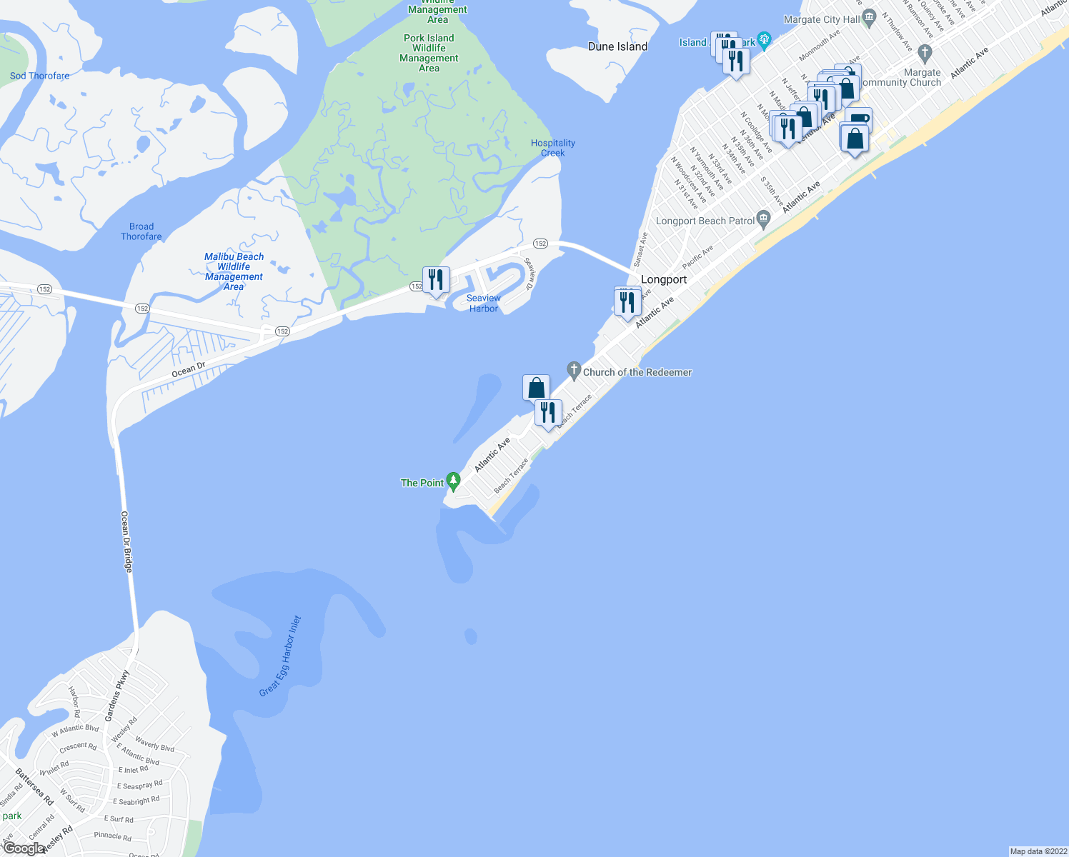 map of restaurants, bars, coffee shops, grocery stores, and more near in Longport