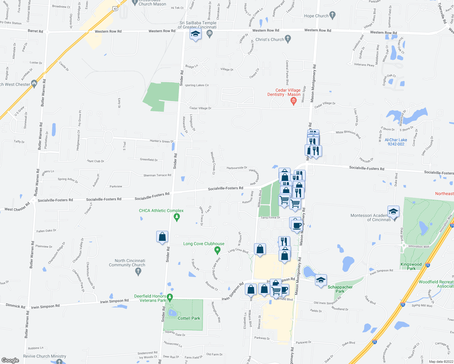 map of restaurants, bars, coffee shops, grocery stores, and more near Baywatch Way in Mason