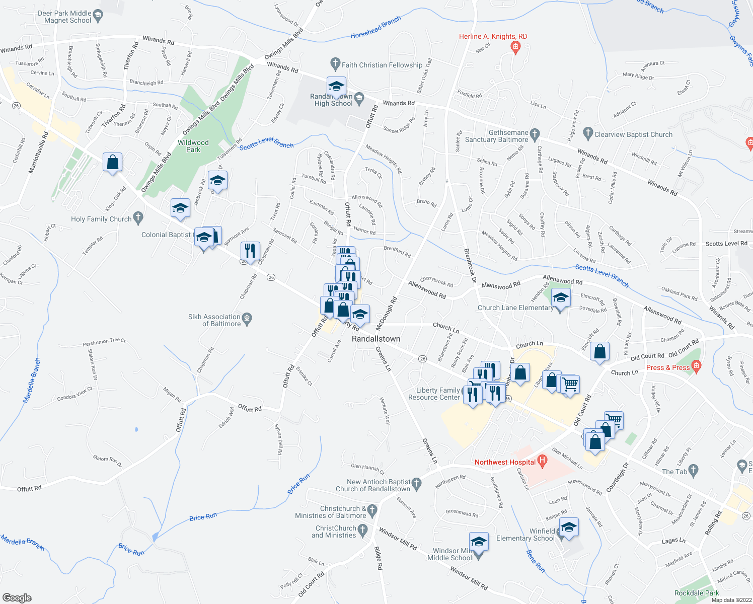 map of restaurants, bars, coffee shops, grocery stores, and more near 3706 McDonogh Rd in Randallstown