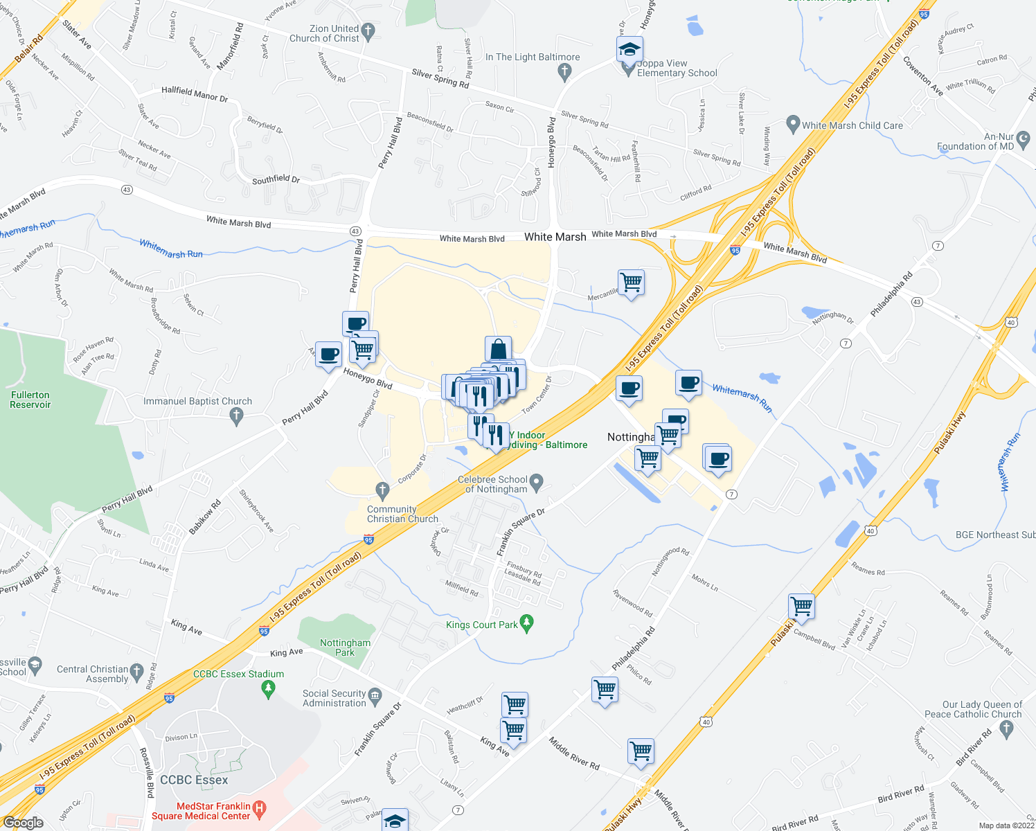 map of restaurants, bars, coffee shops, grocery stores, and more near Town Center Dr in White Marsh