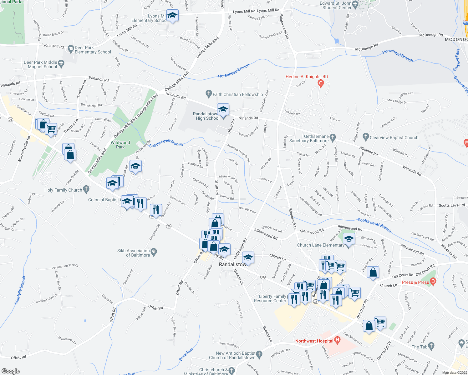 map of restaurants, bars, coffee shops, grocery stores, and more near 3711 Lamoine Road in Randallstown