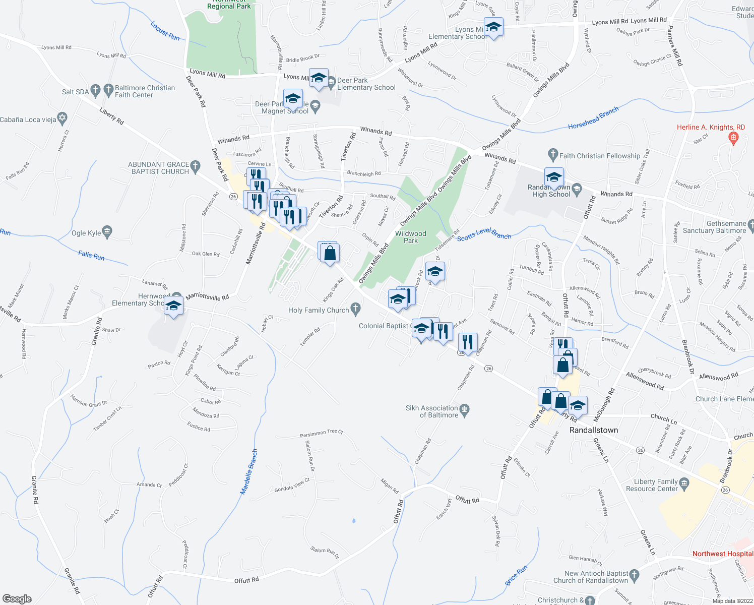 map of restaurants, bars, coffee shops, grocery stores, and more near Peace Chance Drive in Randallstown