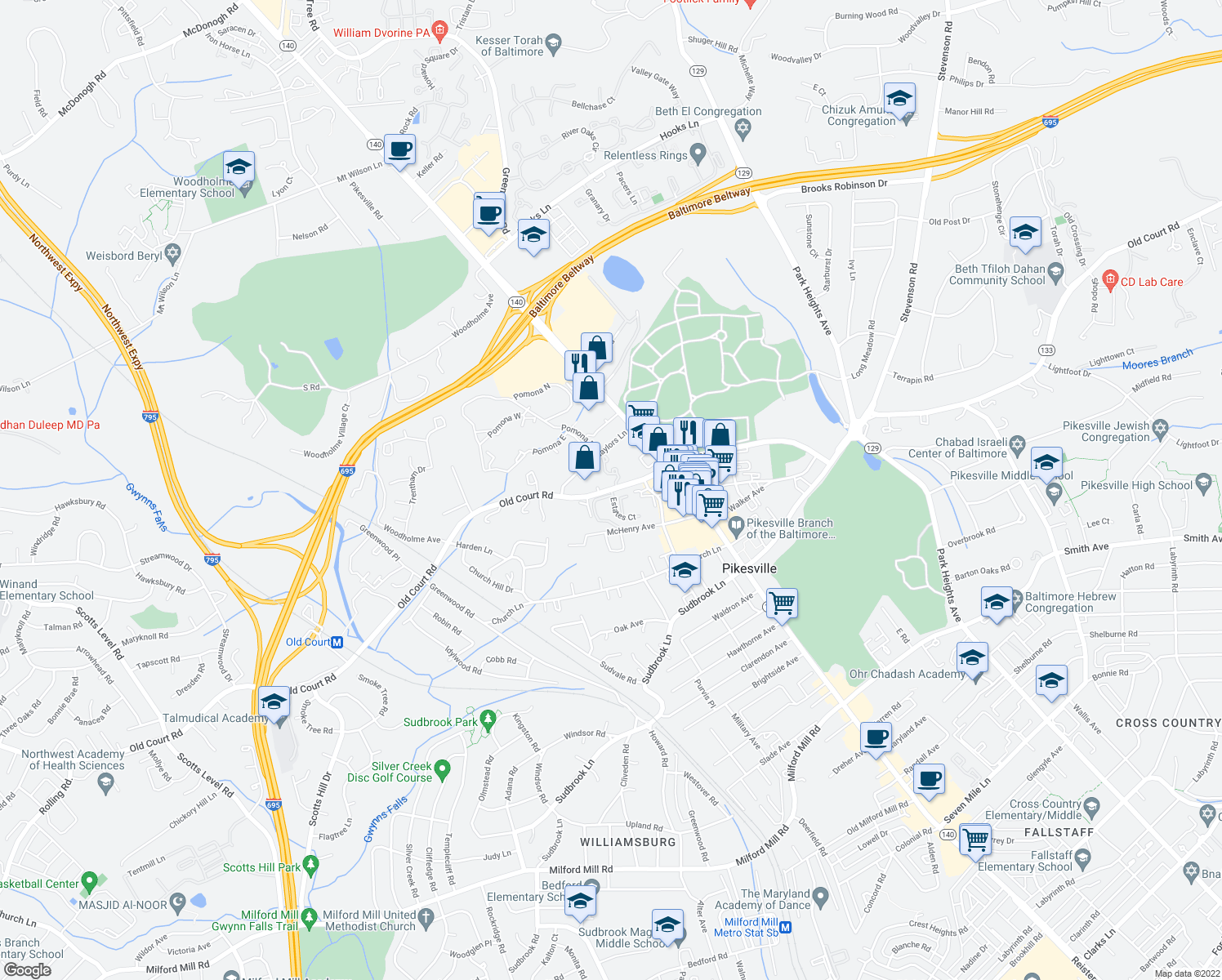 map of restaurants, bars, coffee shops, grocery stores, and more near Old Court Road & Estates Court in Pikesville