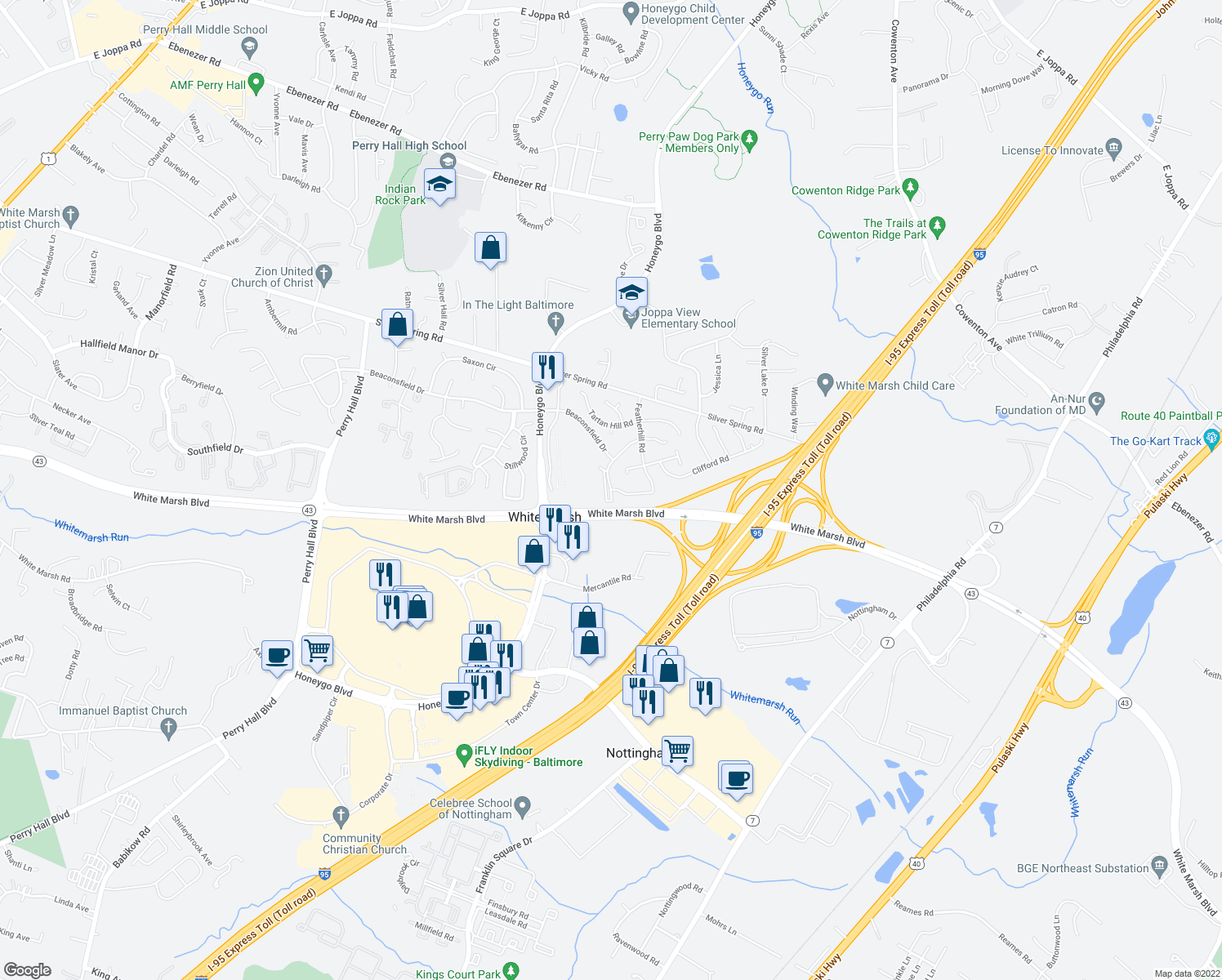 map of restaurants, bars, coffee shops, grocery stores, and more near 4805-4857 Berryhill Circle in Perry Hall