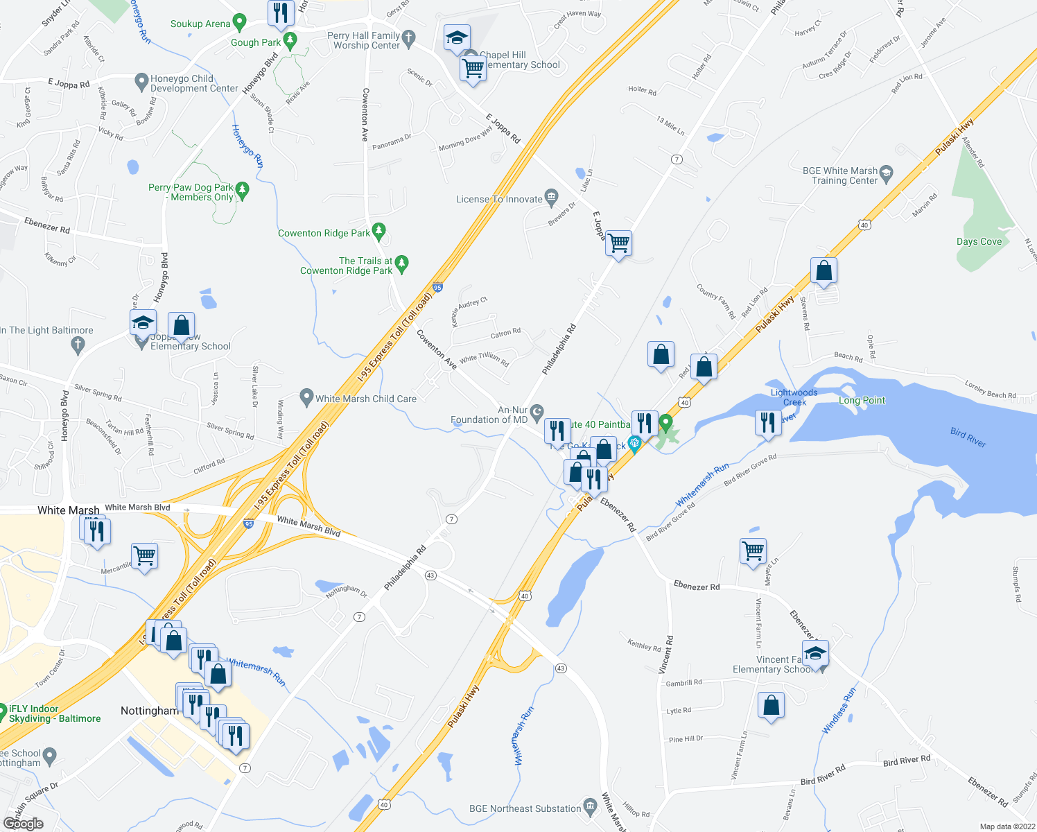 map of restaurants, bars, coffee shops, grocery stores, and more near in White Marsh