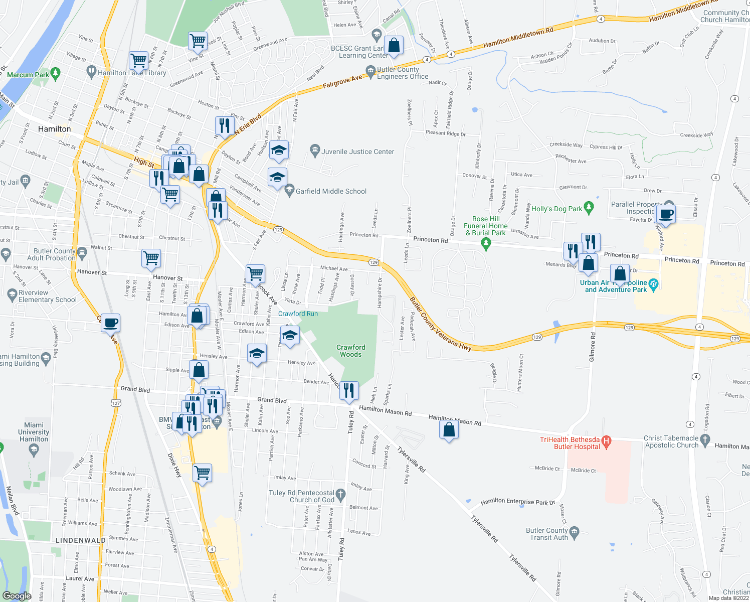 map of restaurants, bars, coffee shops, grocery stores, and more near 363 Hampshire Dr in Hamilton