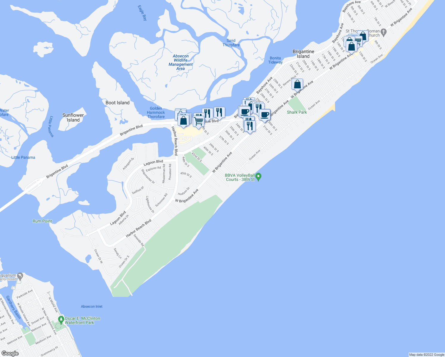 map of restaurants, bars, coffee shops, grocery stores, and more near 4401 Ocean Avenue in Brigantine