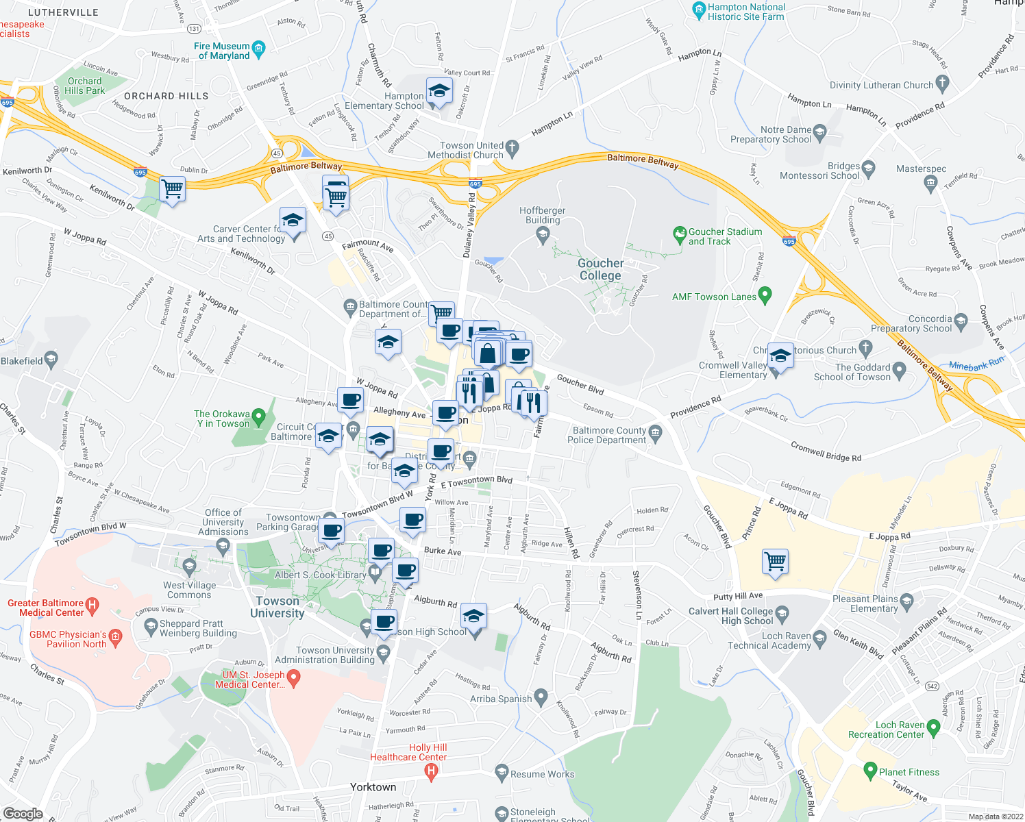 map of restaurants, bars, coffee shops, grocery stores, and more near 305 East Joppa Road in Towson