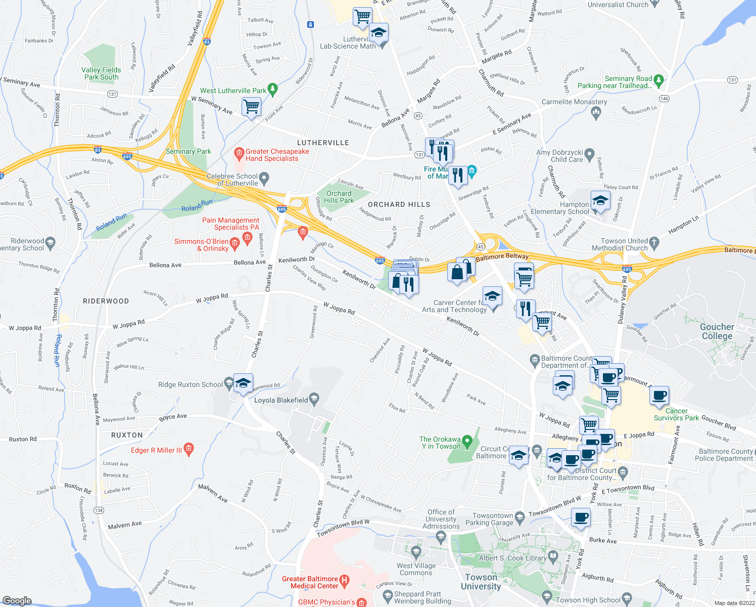 map of restaurants, bars, coffee shops, grocery stores, and more near 2-42 Kenilworth Park Cir in Towson