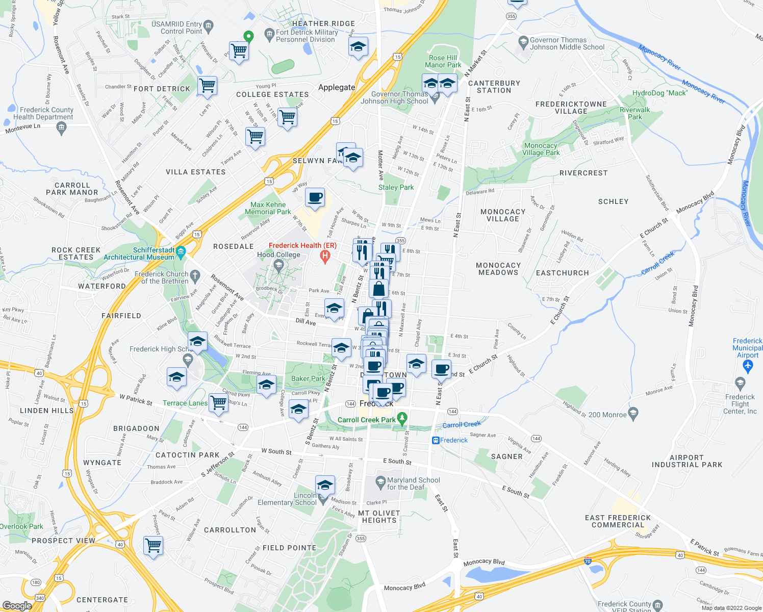 map of restaurants, bars, coffee shops, grocery stores, and more near 431 North Market Street in Frederick