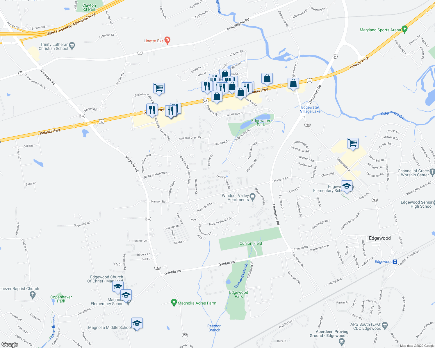 map of restaurants, bars, coffee shops, grocery stores, and more near 801-899 Kingston Court in Edgewood