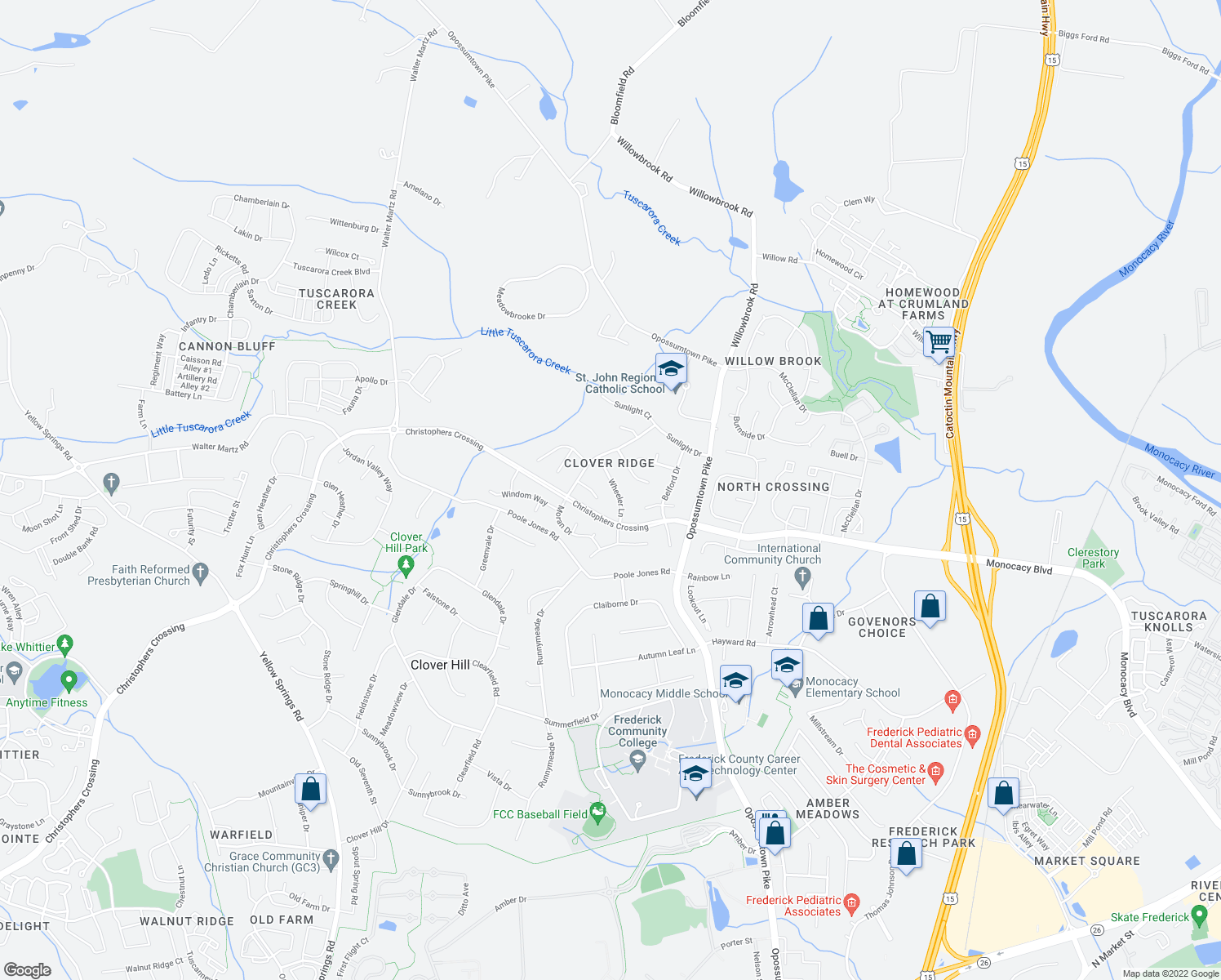 map of restaurants, bars, coffee shops, grocery stores, and more near Wheeler Lane in Frederick