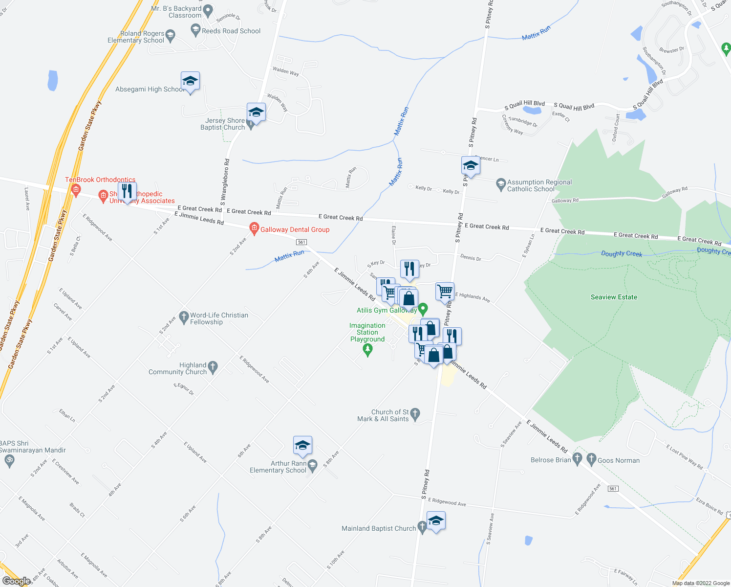 map of restaurants, bars, coffee shops, grocery stores, and more near 303 East Jimmie Leeds Road in Galloway
